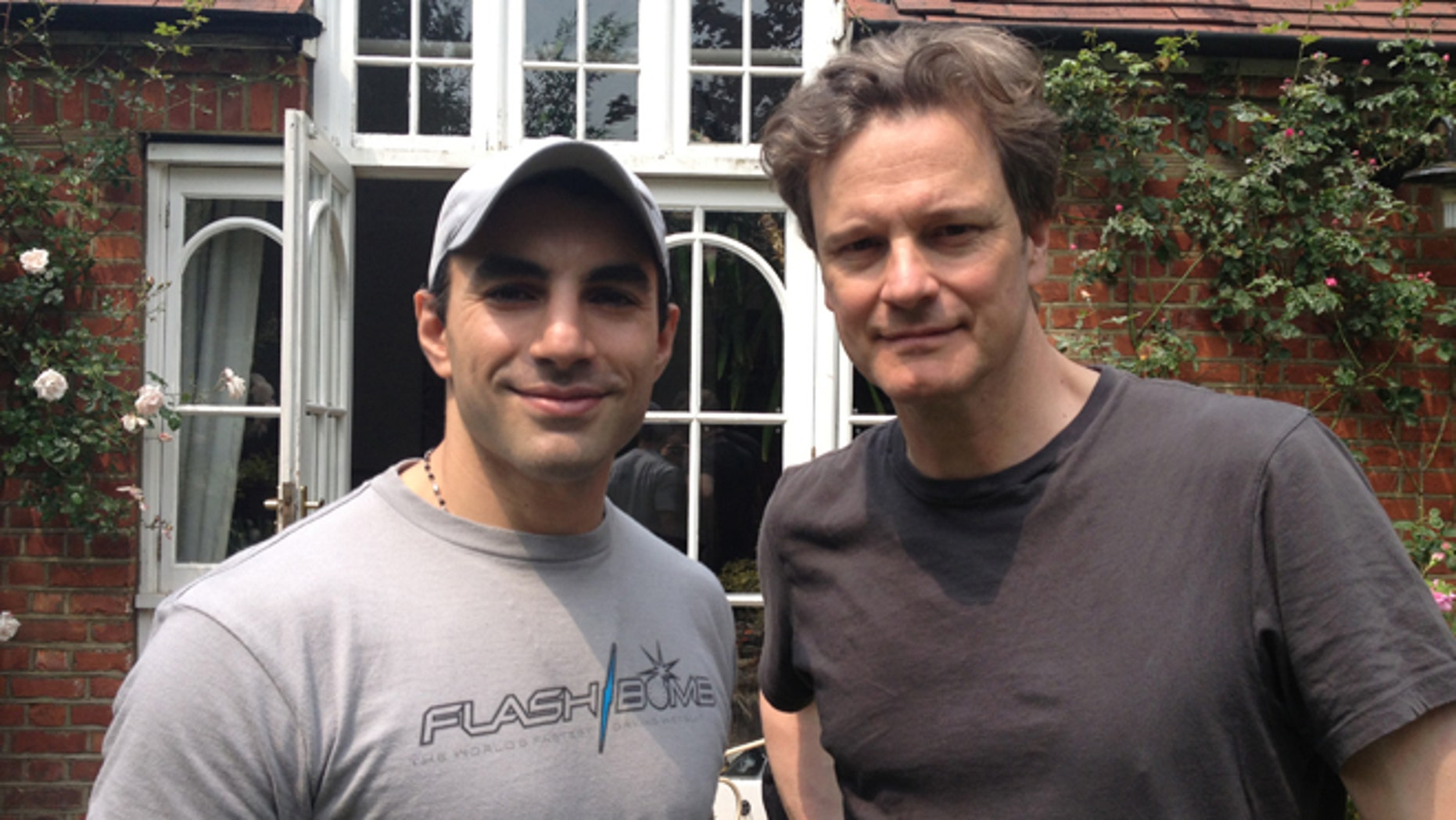 Argentinian fight scene choreographer Guillermo Grispo and actor Colin Firth during the 'Kingsman' shoot.