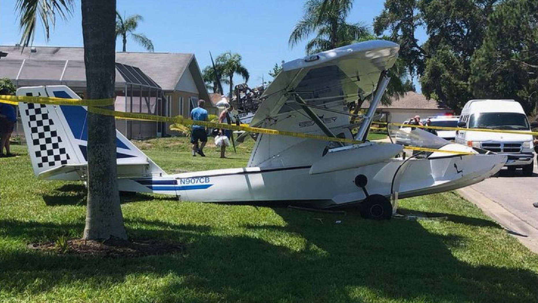 A small plane crashed into a Florida lawn on Thursday shortly after takeoff.