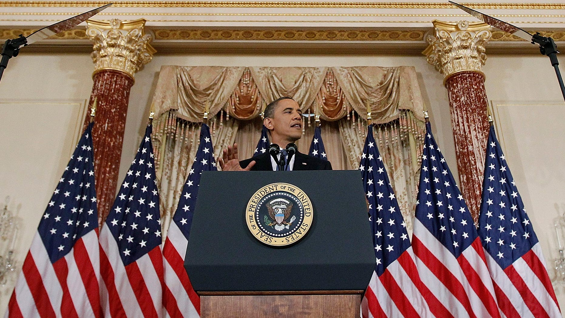 May 19: President Barack Obama delivers a policy address on events in the Middle East at the State Department in Washington.