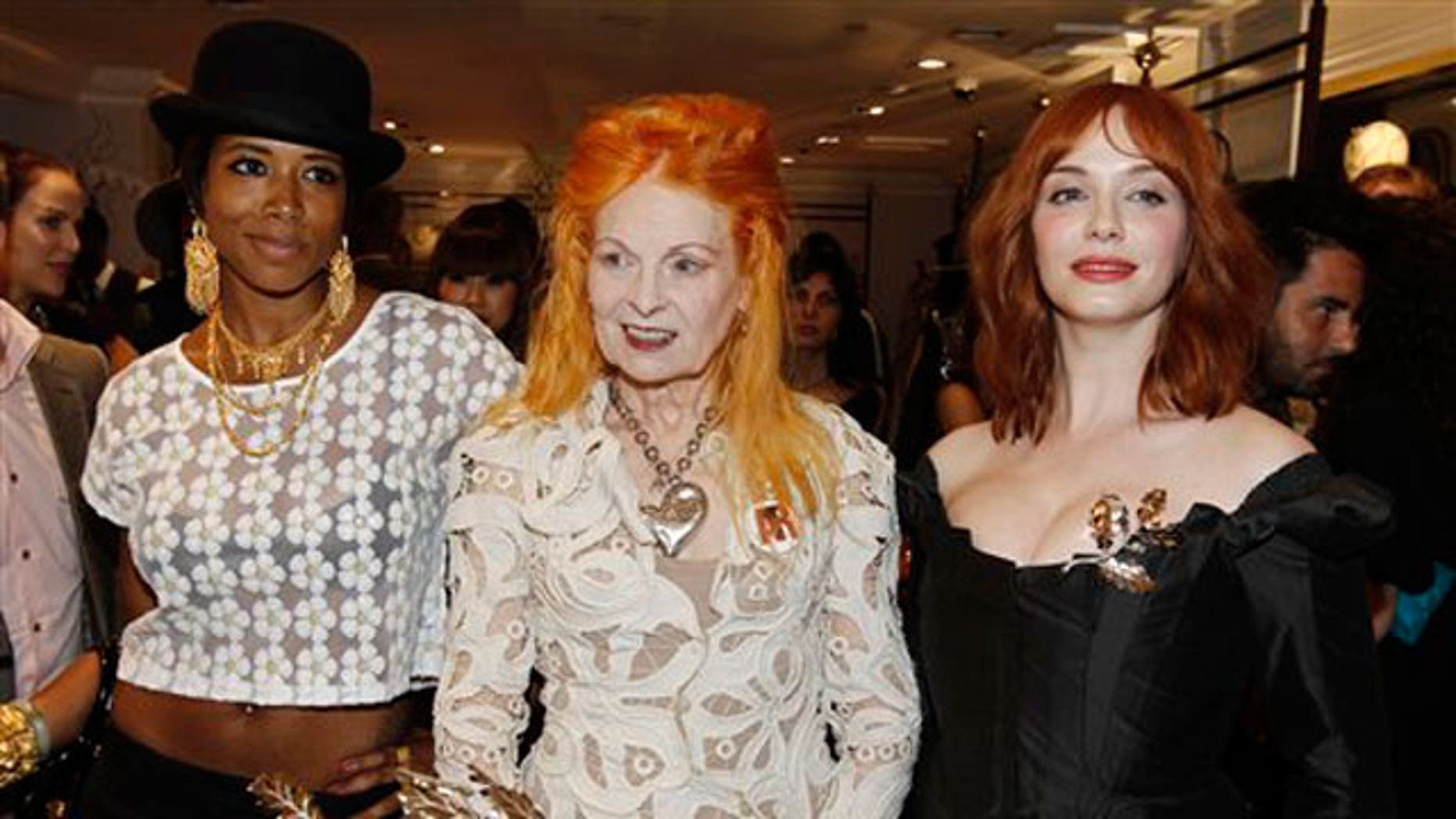 March 30: Dame Vivienne Westwood, center, actress Christina Hendricks, right, and musician Kelis pose together at the opening celebration for the Vivienne Westwood flagship store and Palladium Jewelry Collection in Los Angeles.