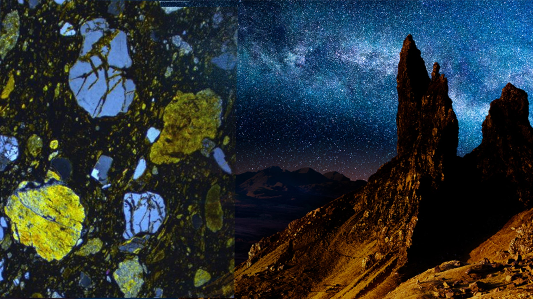 Thin section view of meteoritic ejecta deposit (Credit: Simon Drake), file photo of the Old Man of Storr, Skye, Scotland, at night (Peter Burnett/iStock)