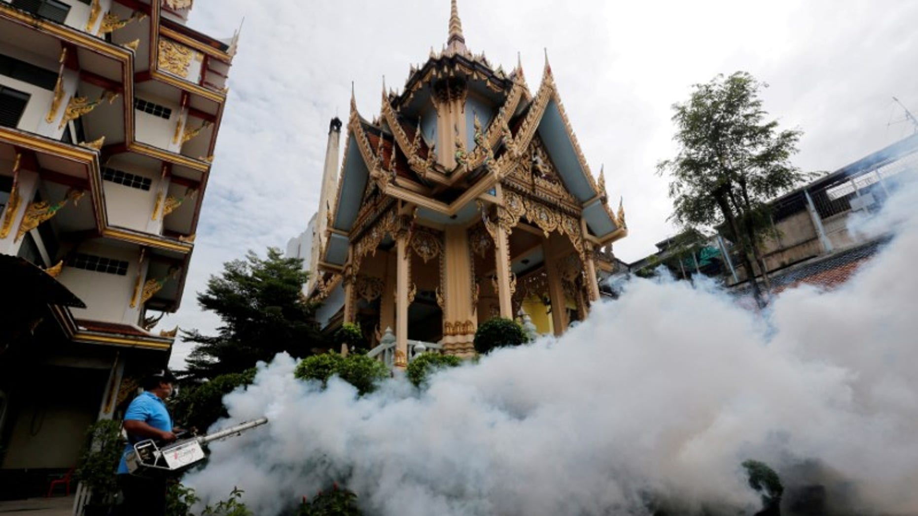 A city worker fumigates area to control the spread of mosquitoes at a temple in Bangkok
