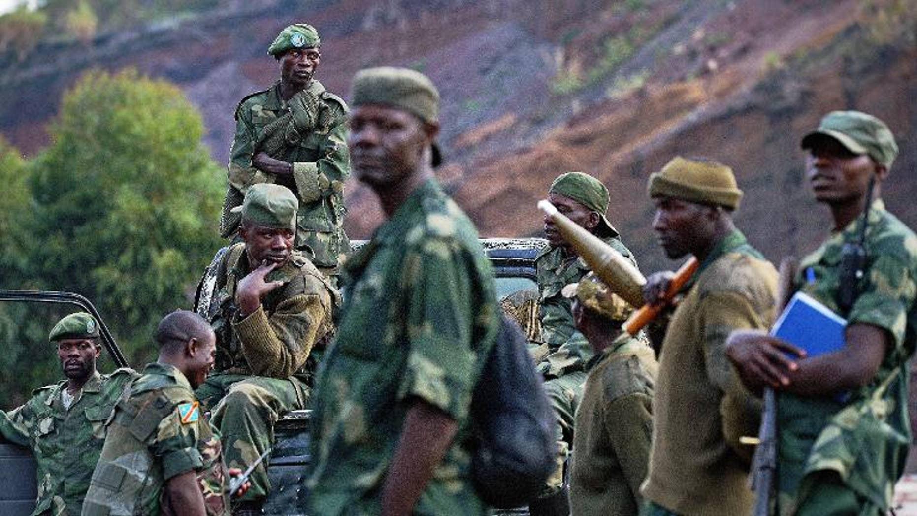 Democratic Republic of Congo (FARDC) soldiers near Kibati on September 4, 2013.