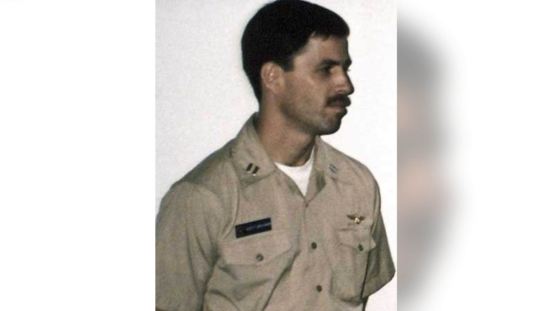 June 18, 1990: Michael 'Scott' Speicher aboard the carrier USS Saratoga when he was promoted to Lt. Commander.