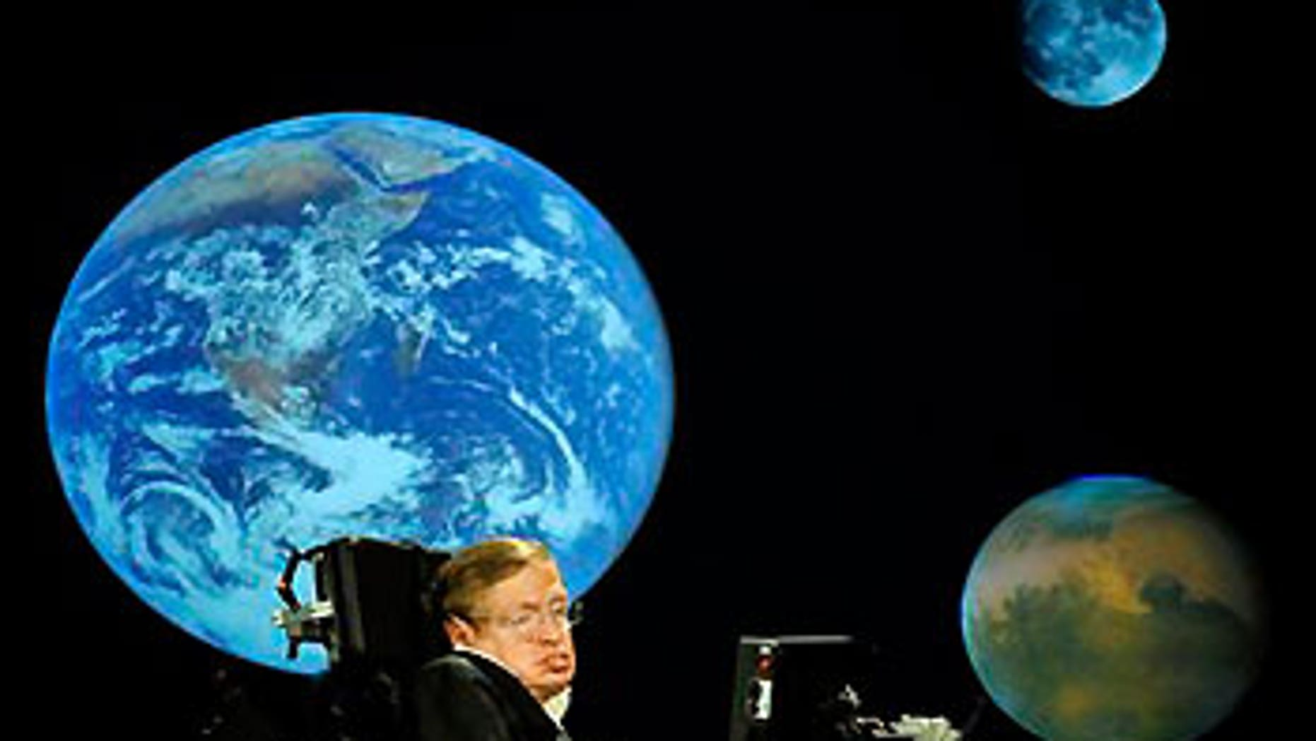 April 21, 2008: Dr. Stephen Hawking giving a lecture related to NASA's 50th anniversary at George Washington University in Washington, D.C.