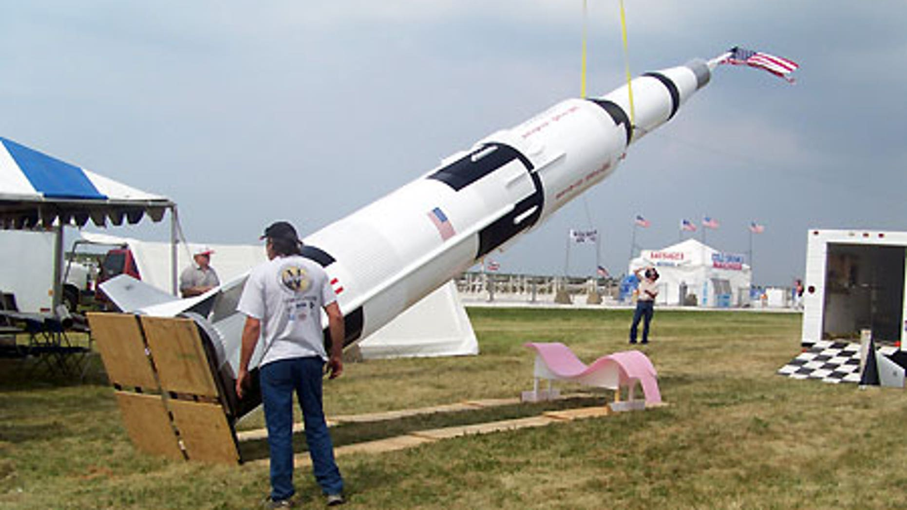 Aug. 20, 2008: Lifting the rocket into a standing position at the Cleveland Air Show.