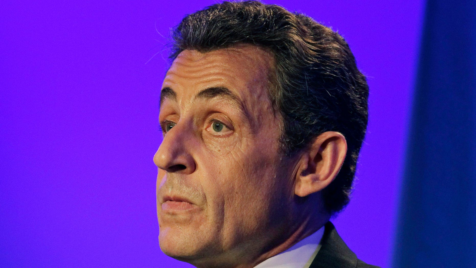 May 4, 2012: This photo shows France's then President  and conservative candidate for re-election in 2012, Nicolas Sarkozy as he delivers a speech during a campaign meeting in Sables d'Ollonne, western France.
