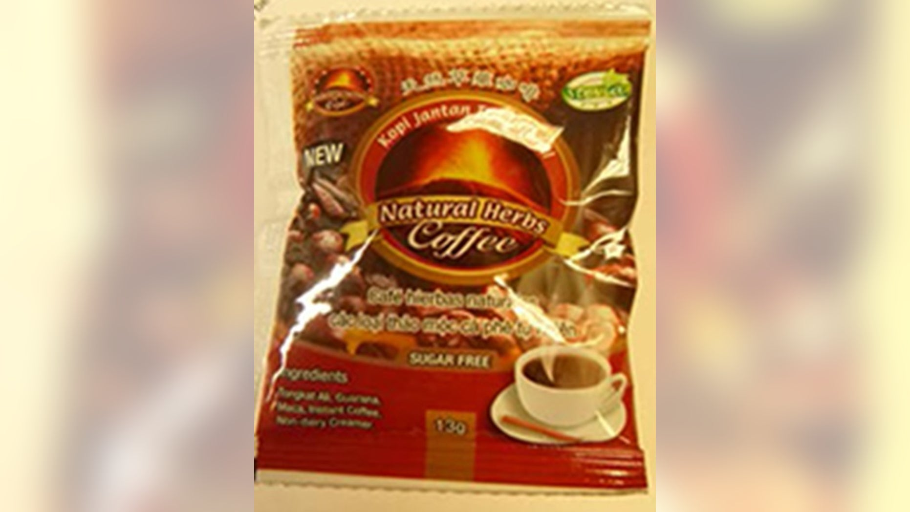"""Bestherbs Coffee LLC has recalled all of its """"New of Kopi Jantan Tradisional Natural Herbs Coffee"""" after the Food and Drug Administration found an ingredient similar to one found in Viagra, a drug for men that helps with their erectile dysfunction."""