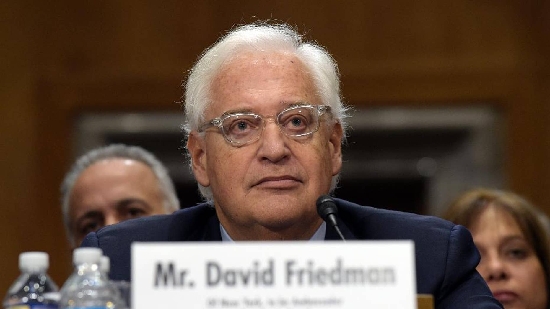 David Friedman, nominated to be U.S. Ambassador to Israel, testifies on Capitol Hill in Washington, Thursday, Feb. 16, 2017, at his confirmation hearing before the Senate Foreign Relations Committee. (AP Photo/Susan Walsh)