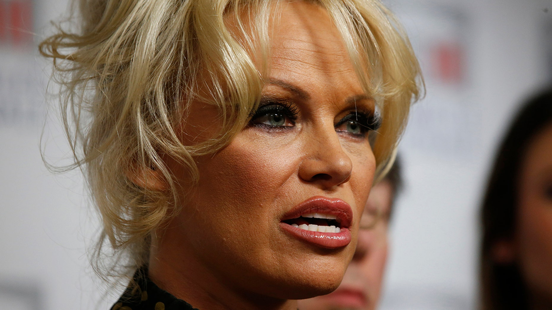 Pamela Anderson, actress and animals rights defender, attends a news conference at the National Assembly to protest the force-feeding of geese used in the production of foie gras, in Paris, France, January 19, 2016.