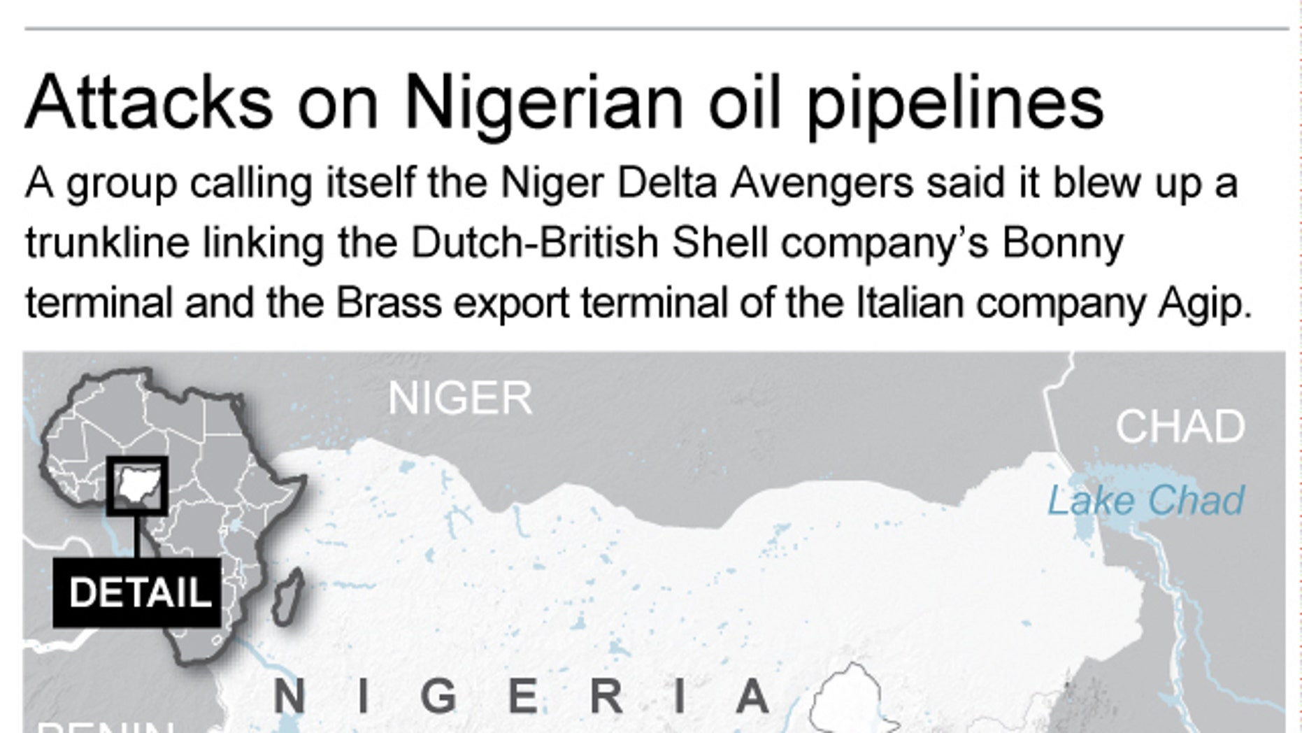 Map locates areas where Nigerian oil pipelines were attacked; 2c x 3 inches; 96.3 mm x 76 mm;