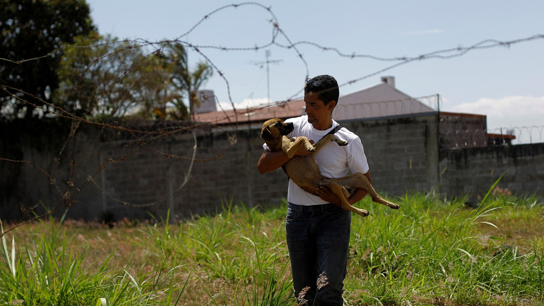 Alvaro Saumet rescues a stray dog in San Jose, Costa Rica, April 22, 2016.