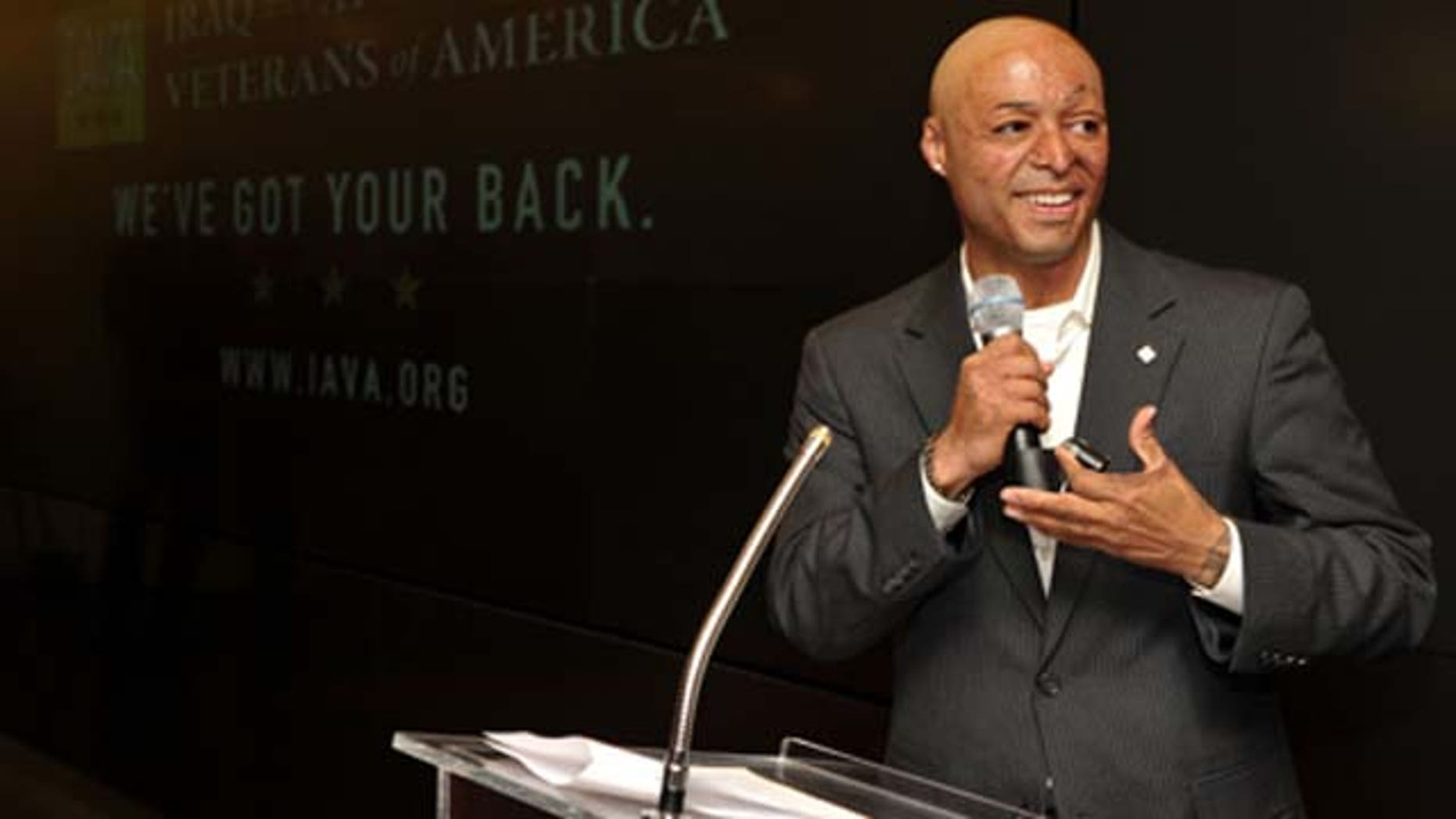 April 29, 2010: Actor J.R. Martínez speaks at IAVA's Second Annual Heroes Celebration held at CAA in Los Angeles, Calif.