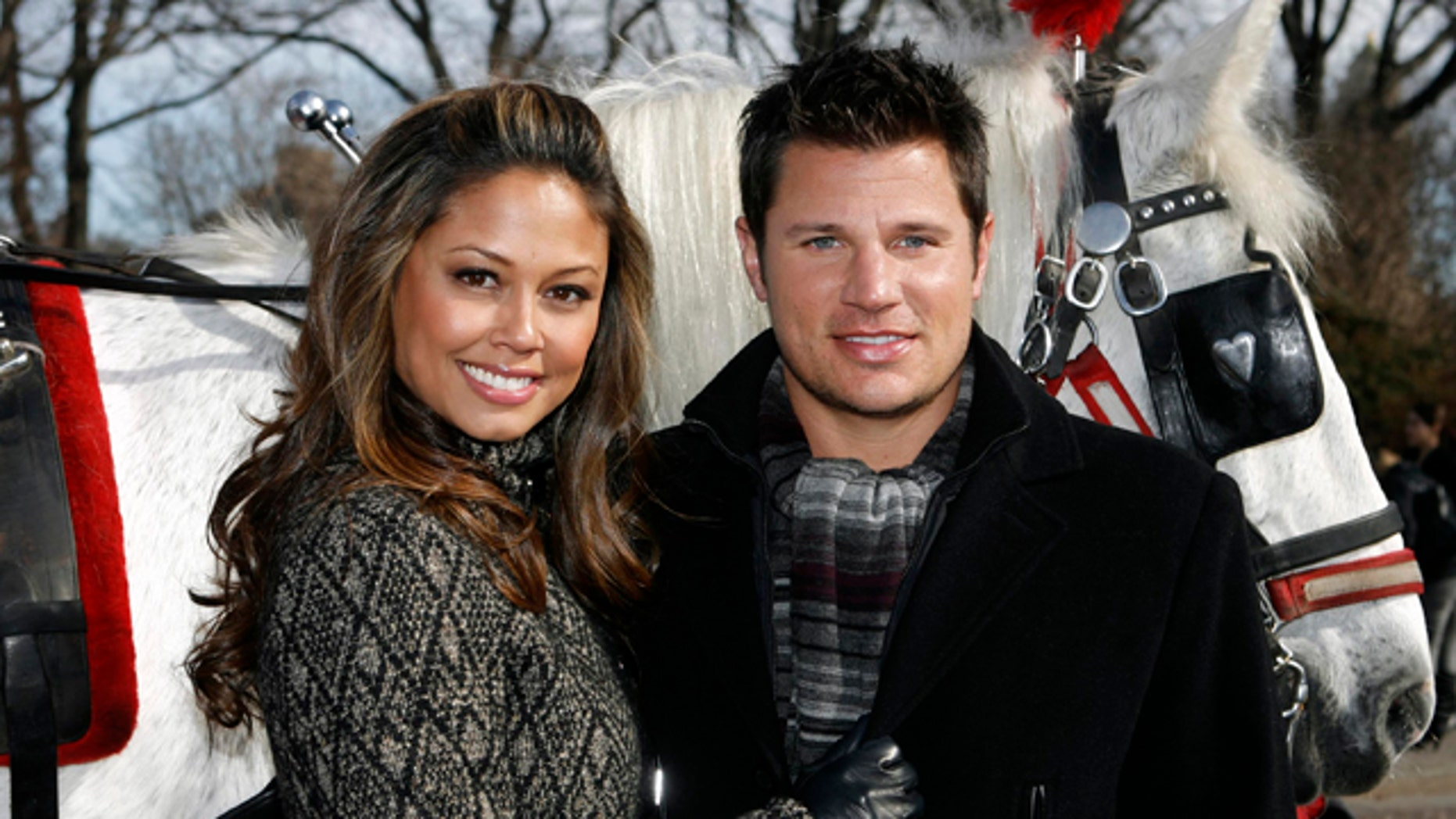 Feb. 9, 2010: Vanessa Minnillo and Nick Lachey pose together with a carriage horse in New York's Central Park . After dating for more than five years, Nick Lachey and Vanessa Minnillo married on Friday.
