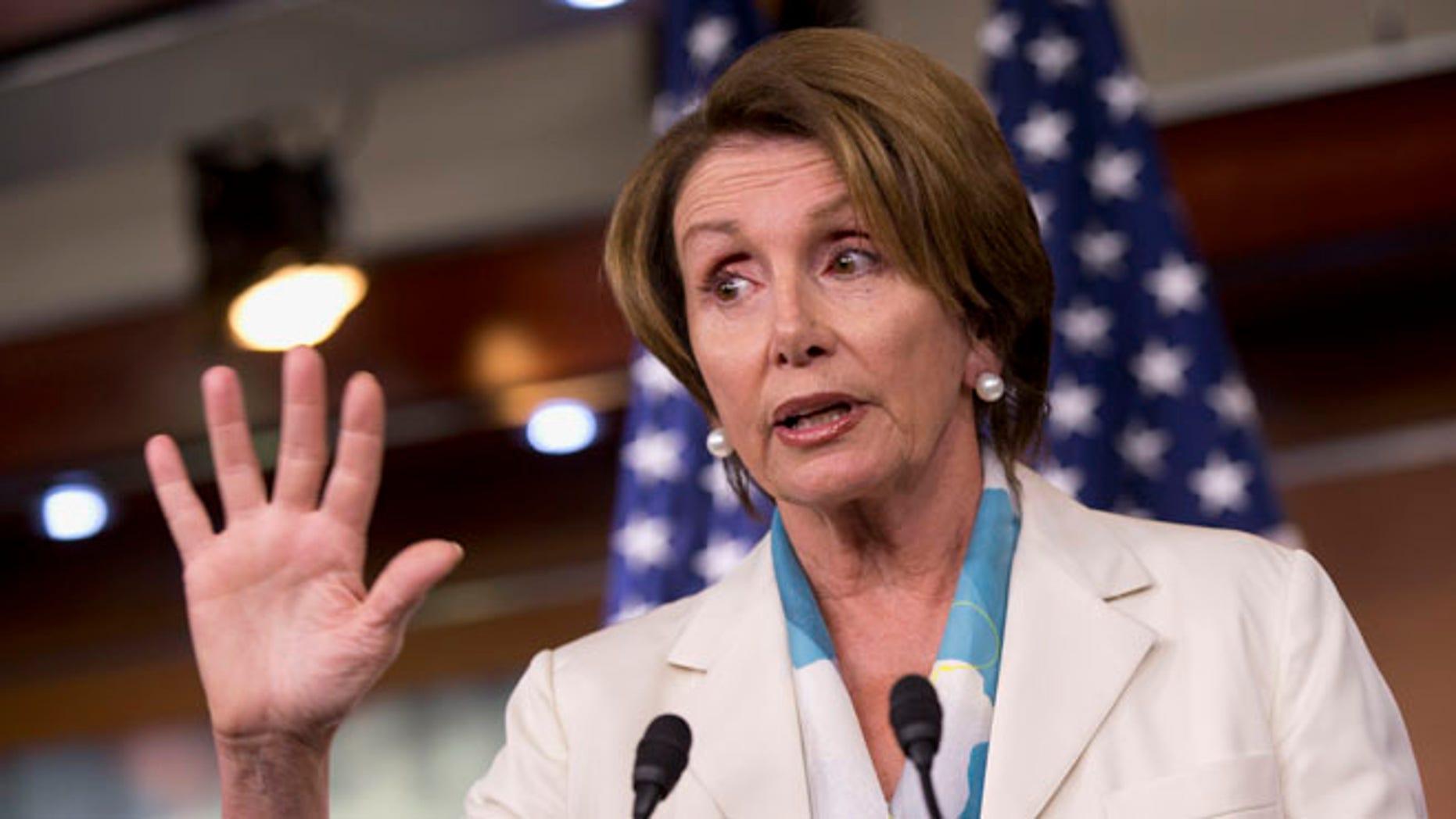 FILE: July 11, 2013: House Minority Leader Nancy Pelosi speaks to reporters on Capitol Hill in Washington, D.C.
