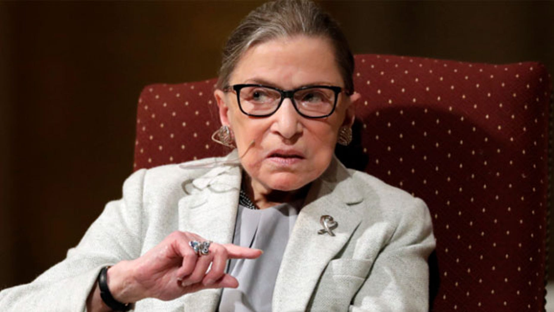 U.S. Supreme Court Justice Ruth Bader Ginsburg speaks during a visit to Stanford University