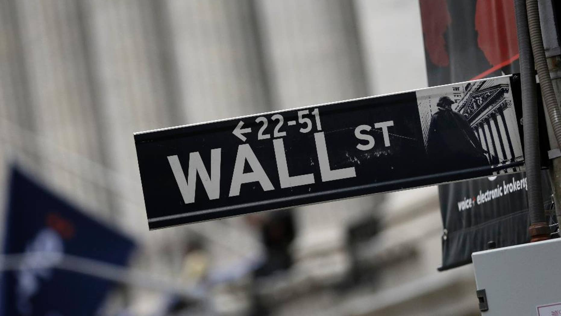 FILE - This Oct. 2, 2014 photo shows a Wall Street sign adjacent to the New York Stock Exchange, in New York.   U.S. stocks are wavering in early trading more big companies turn in earnings reports. Markets in Asia surged on optimism over recent reforms in China, on Tuesday, April 21, 2015. (AP Photo/Richard Drew)