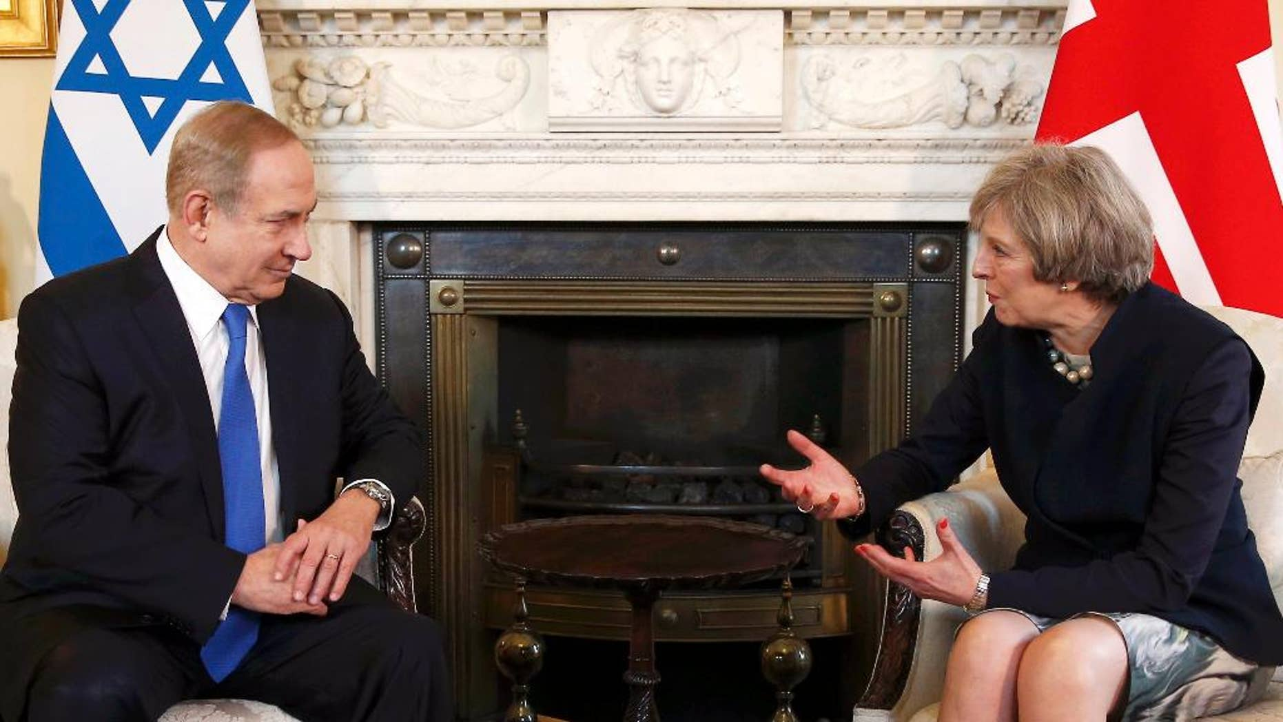 British Prime Minister Theresa May, right, meets with Israeli Prime Minister Benjamin Netanyahu on Feb. 6.