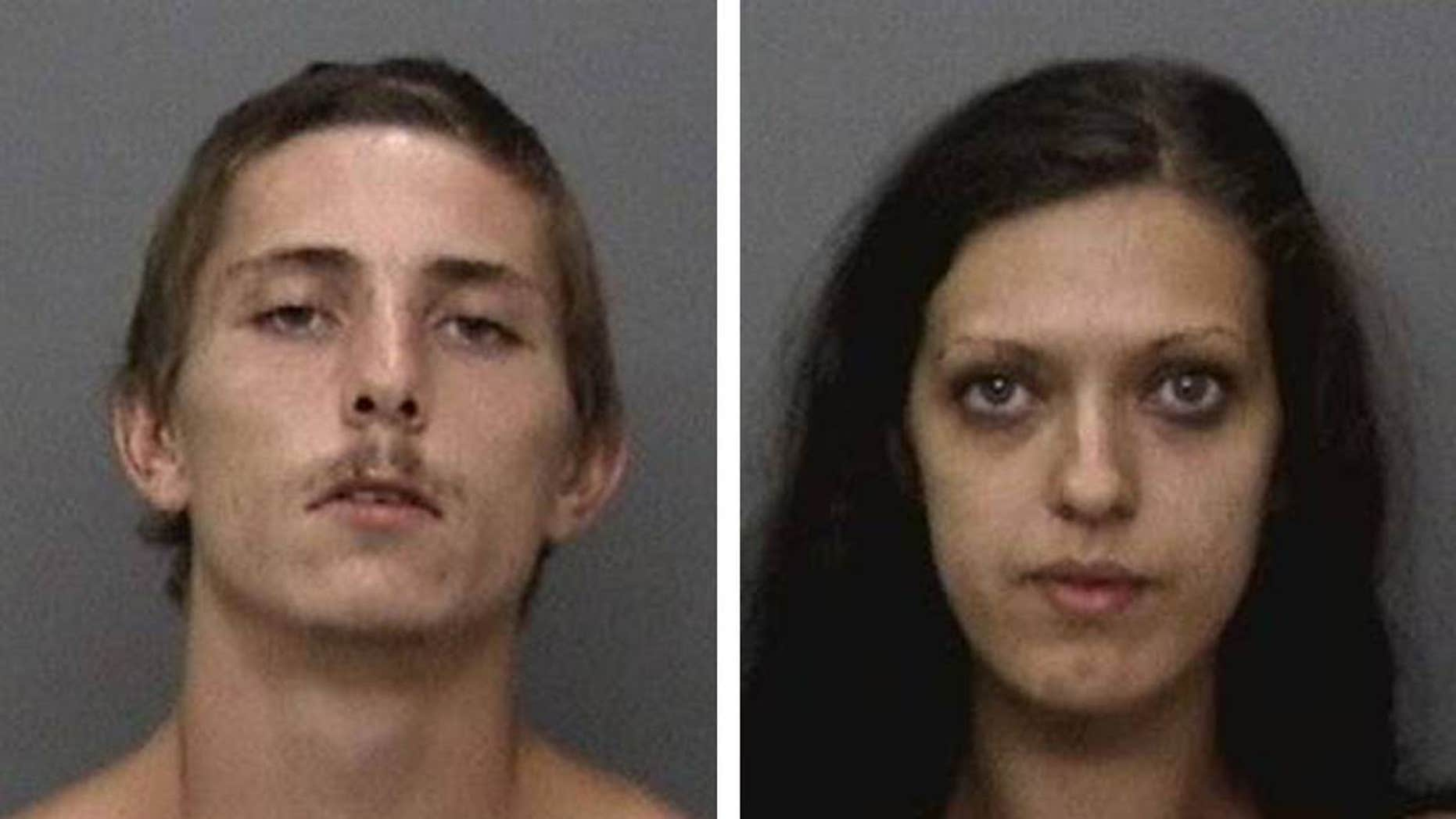 Jack Fannin and Jade Ball were arrested Sunday on suspicion of looting homes that had been evacuated earlier due to a wildfire, police said.