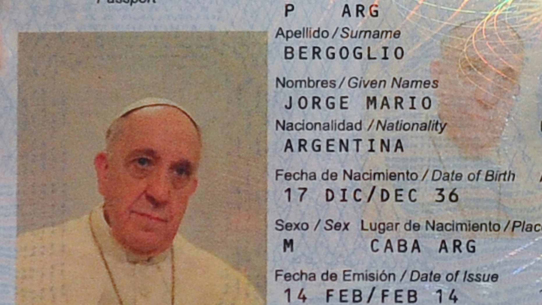 This photo released by Argentina's Interior Ministry shows the new passport of Jorge Mario Bergoglio, Pope Francis, at the Argentine Consulate in Rome, Italy, Friday, Feb. 14, 2014. Argentina's ambassador to the Holy See, Juan Pablo Cafiero said he and his deputy went to the Pope's hotel in the Vatican gardens last Friday to take Francis' photo and digital fingerprints because the Pope's passport was due to expire and he wanted to renew it.  (AP Photo/Argentina's Interior Ministry)