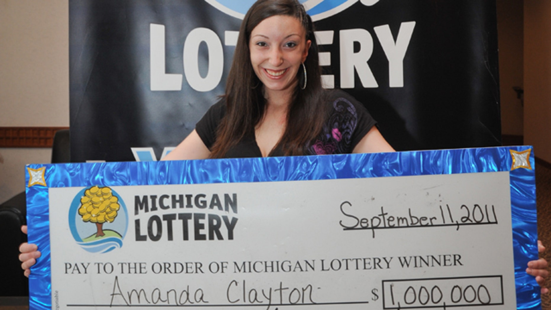 This photo, provided by the Michigan State Lottery, shows 25-year-old Amanda Clayton.