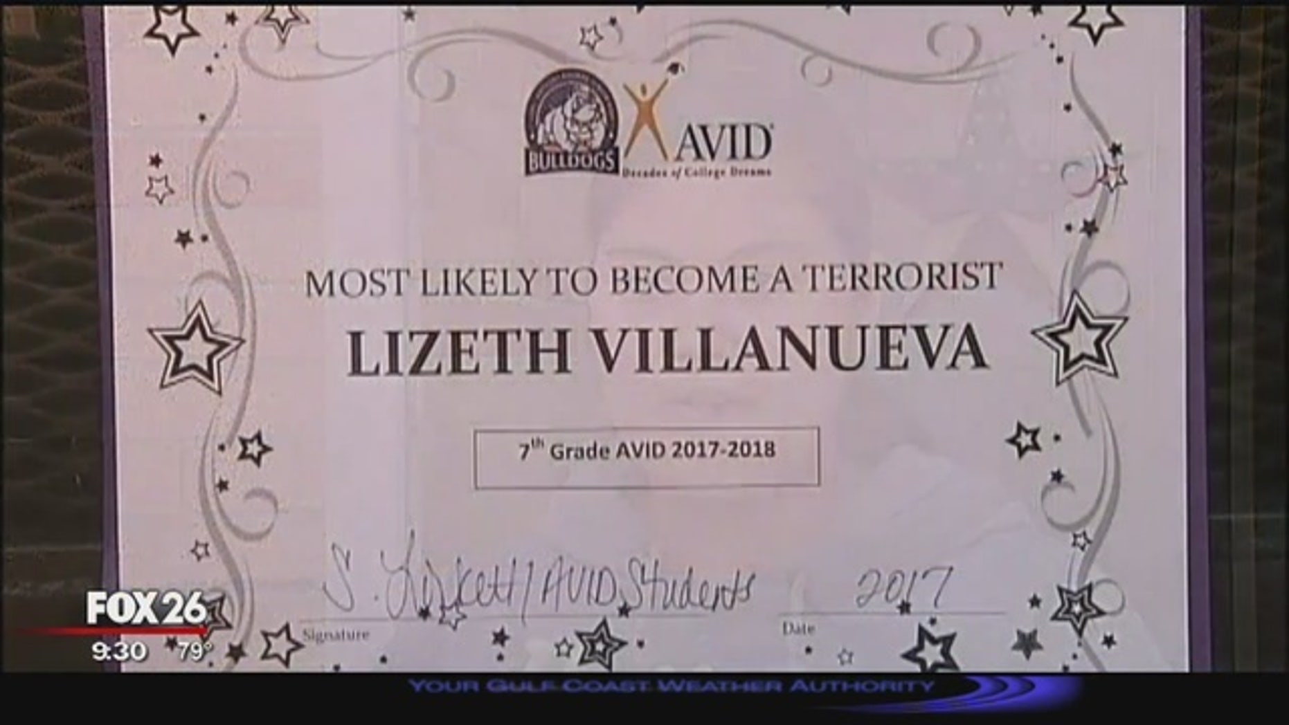 """Lizeth Villanueva said her teacher presented her a """"most likely to become a terrorist award"""" in class on Tuesday. (Fox 26 Houston)"""