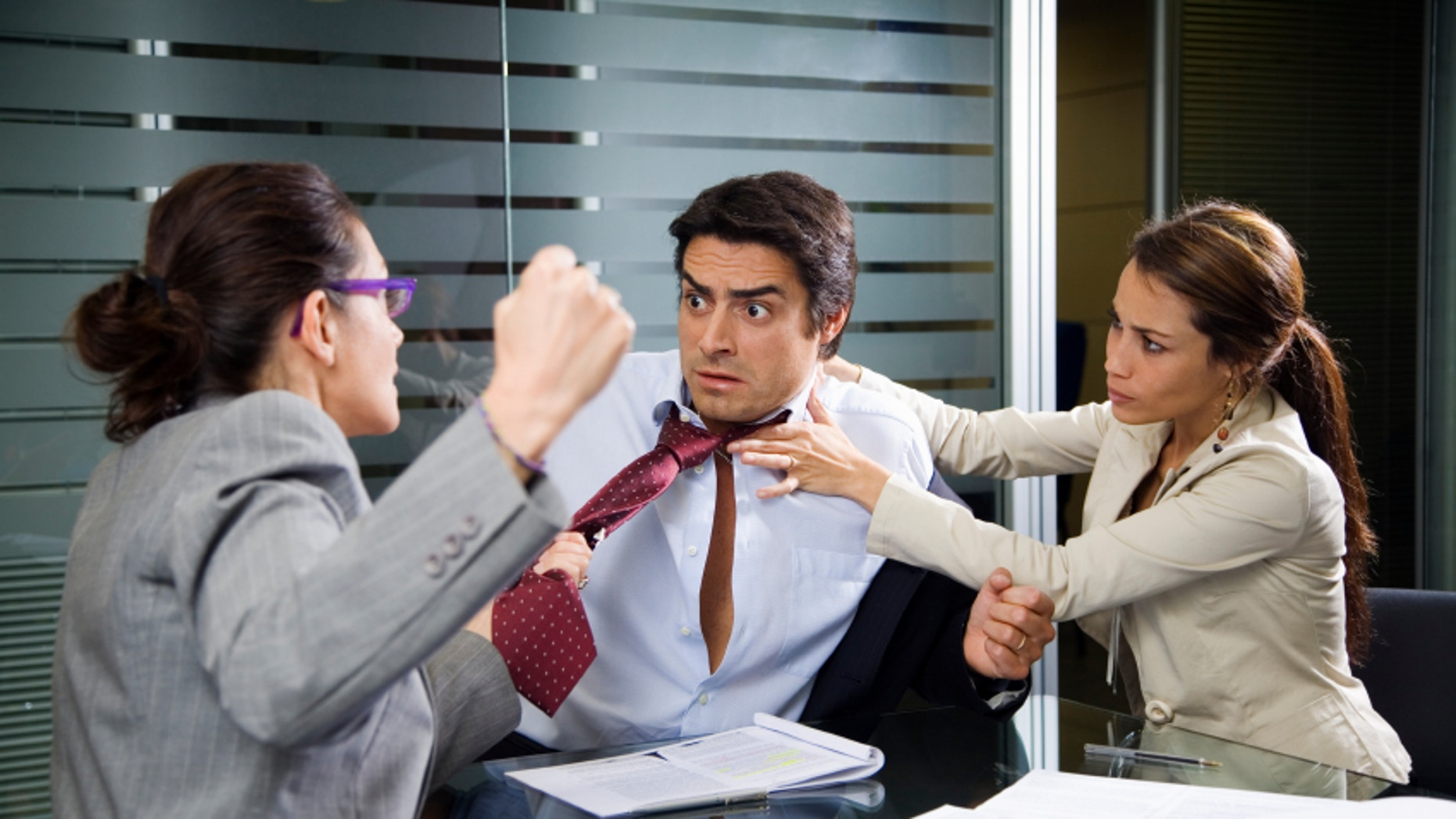 Office life: business team having a fight