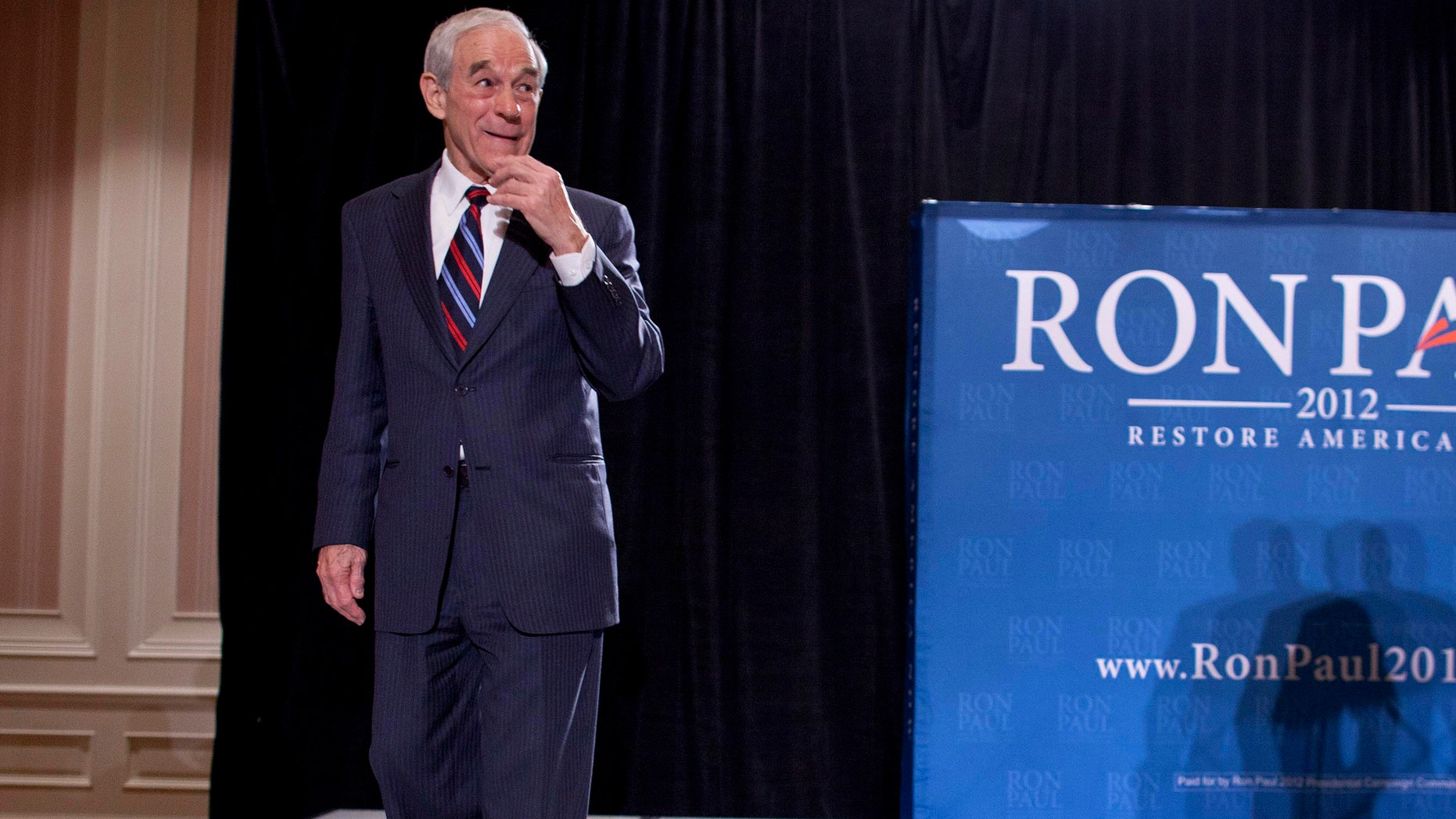 Feb. 1, 2012: GOP presidential candidate Rep. RonPaul, R-Texas, at a news conference in Las Vegas.