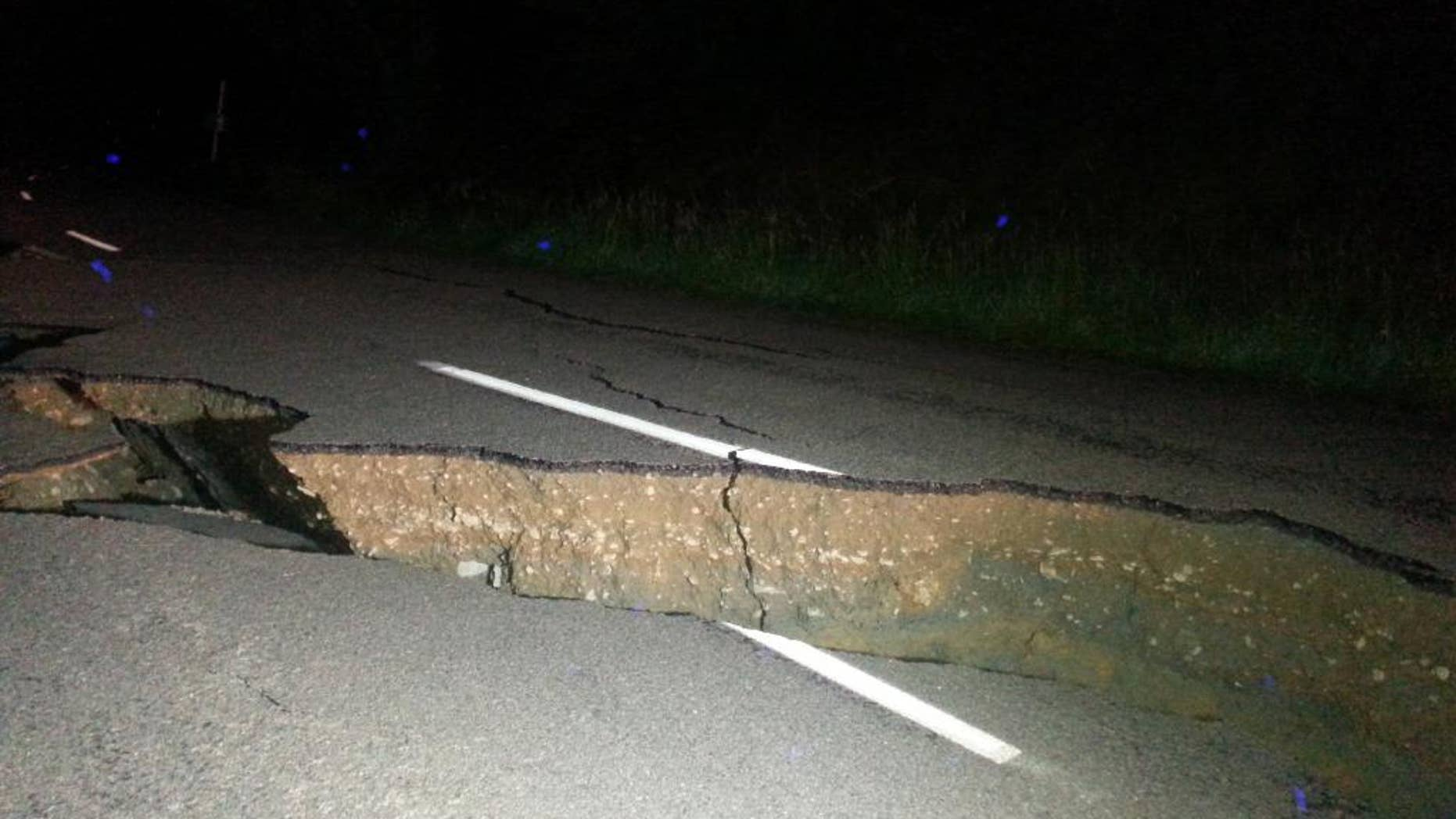 Damage along Kaikoura Road about two hours north of Christchurch on Monday.