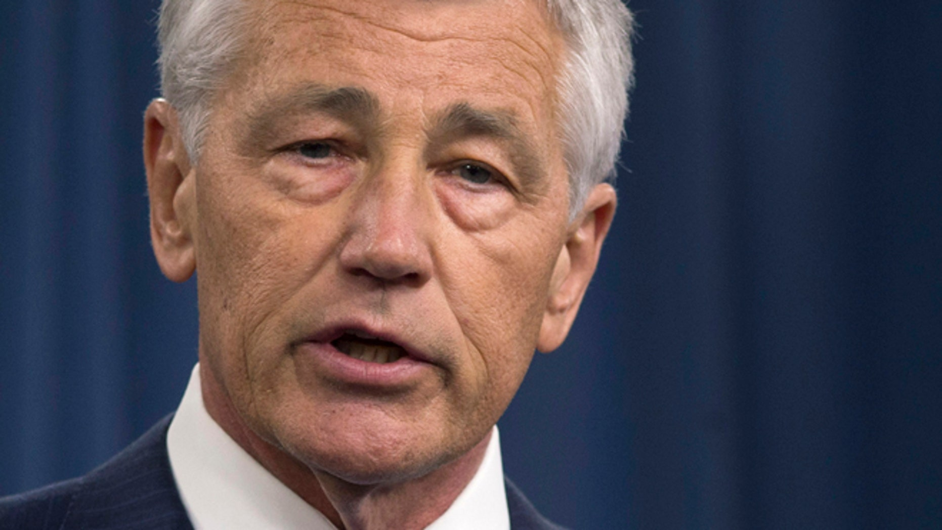 FILE - In this March 1, 2013 file photo, Defense Secretary Chuck Hagel speaks during a news conference at the Pentagon.