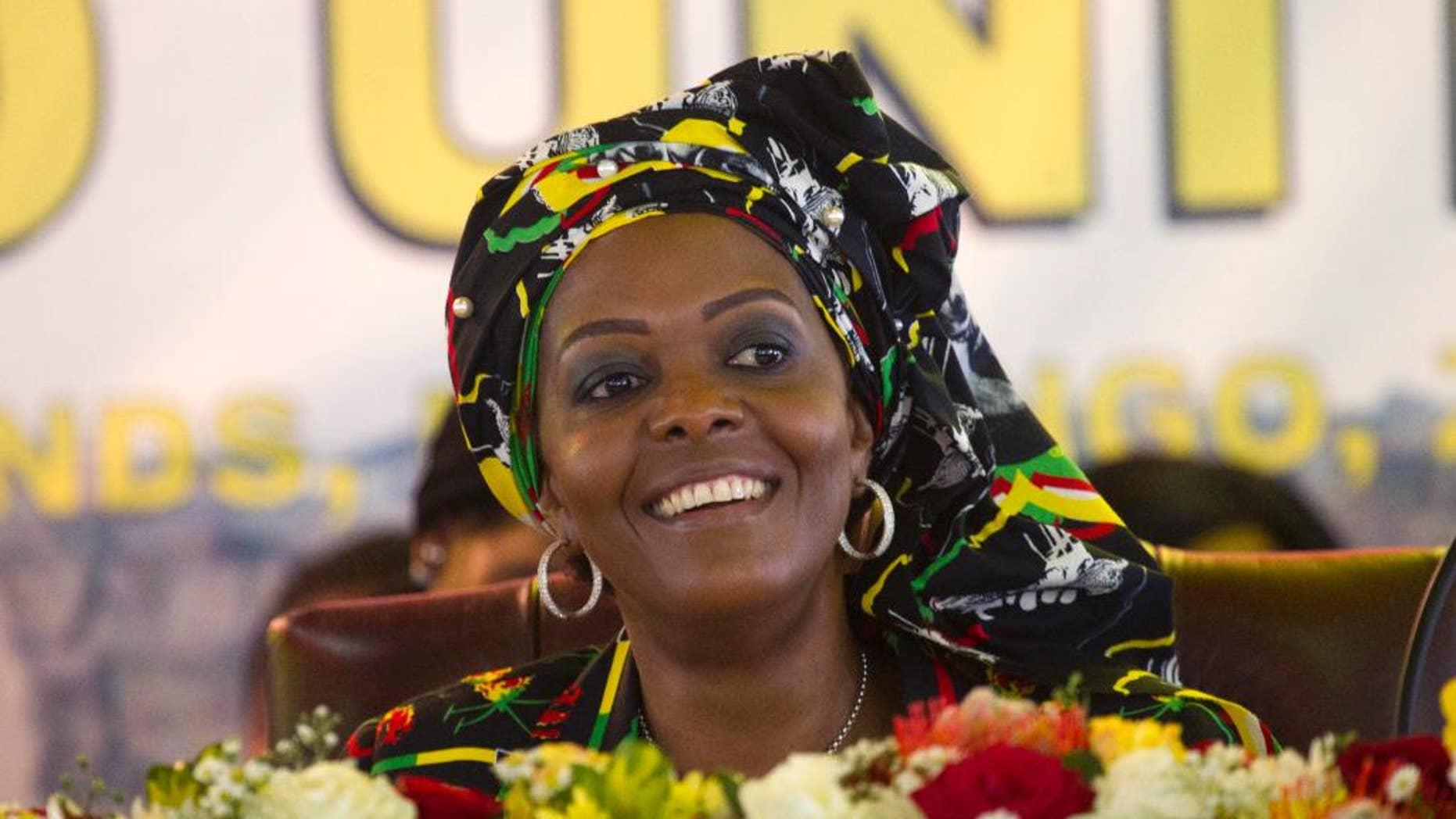 An arrest warrant has been issued for former Zimbabwean first lady Grace Mugabe for an alleged assault of a model inside a Johannesburg hotel room in 2017. (AP Photo/Tsvangirayi Mukwazhi)