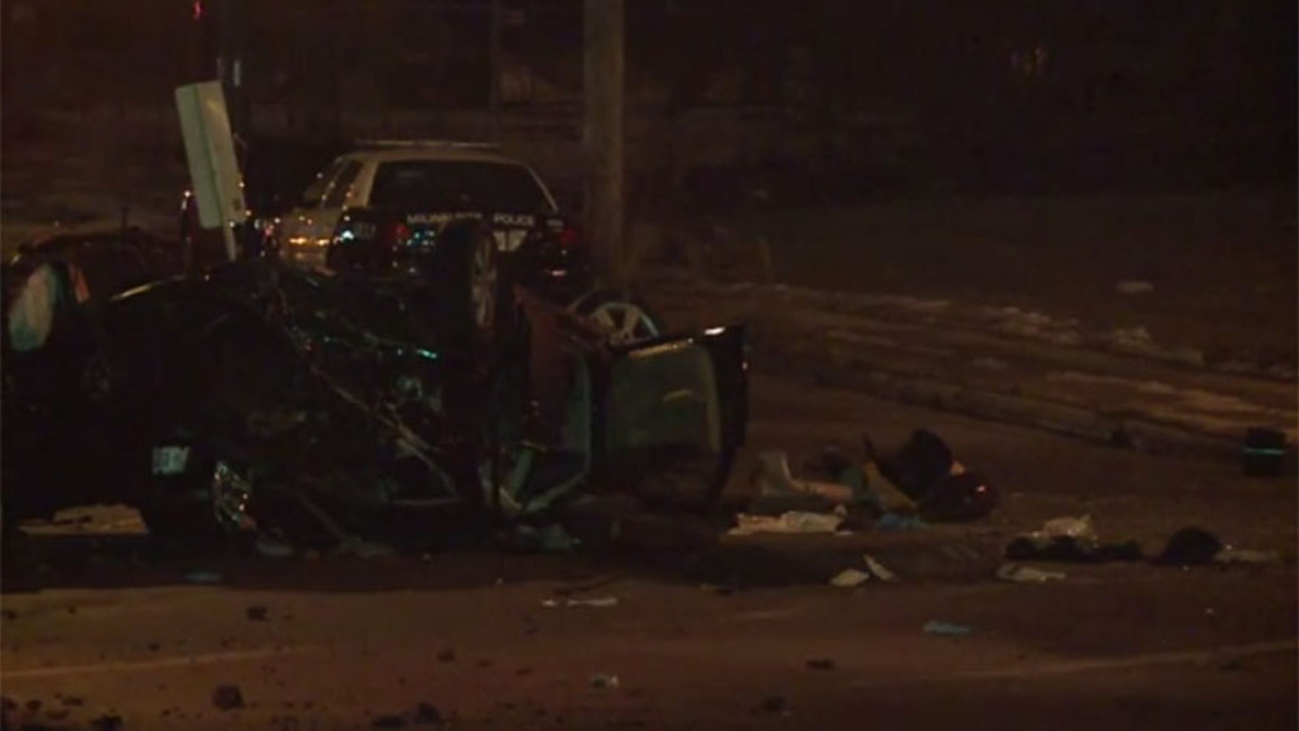 The driver lost control of the car and ran into a utility pole and two other vehicles, one with a mother and her two sons inside who were not injured.