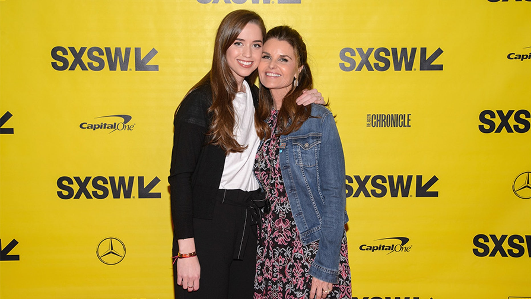 "Producers Christina Schwarzenegger and Maria Shriver attend the ""Take Your Pills"" red carpet premiere during the 2018 SXSW Film Festival in Austin, Texas."