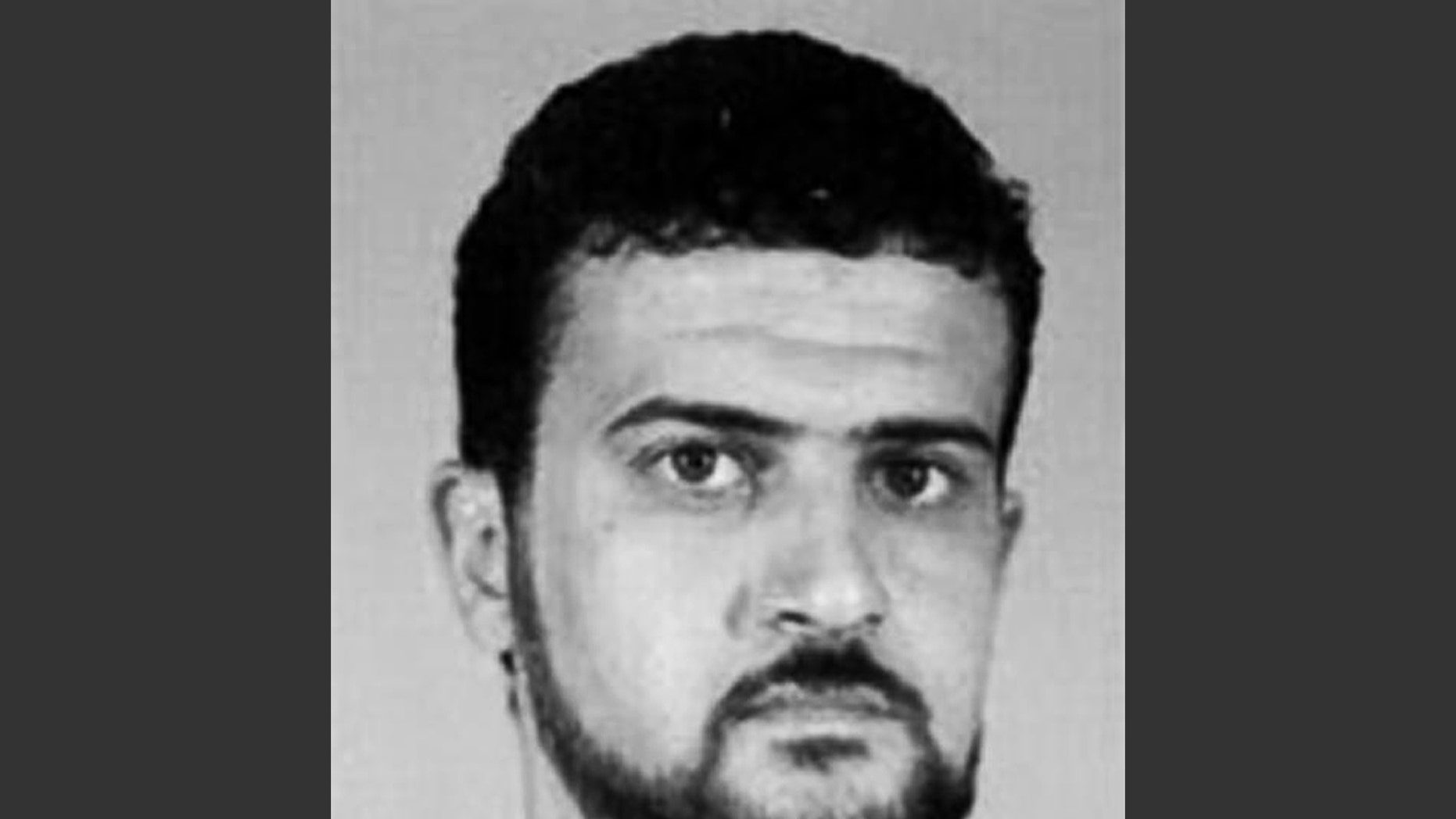FILE - This file image from the FBI website shows Al Qaeda leader Abu Anas al-Libi. Al-Libi, who was captured in an Oct. 5, 2013, raid and held aboard a U.S. warship, is now in the United States. He is expected to stand trial over whether he helped plan and conduct surveillance for the bombings of U.S. embassies in Africa in 1998. (AP Photo/FBI, File)