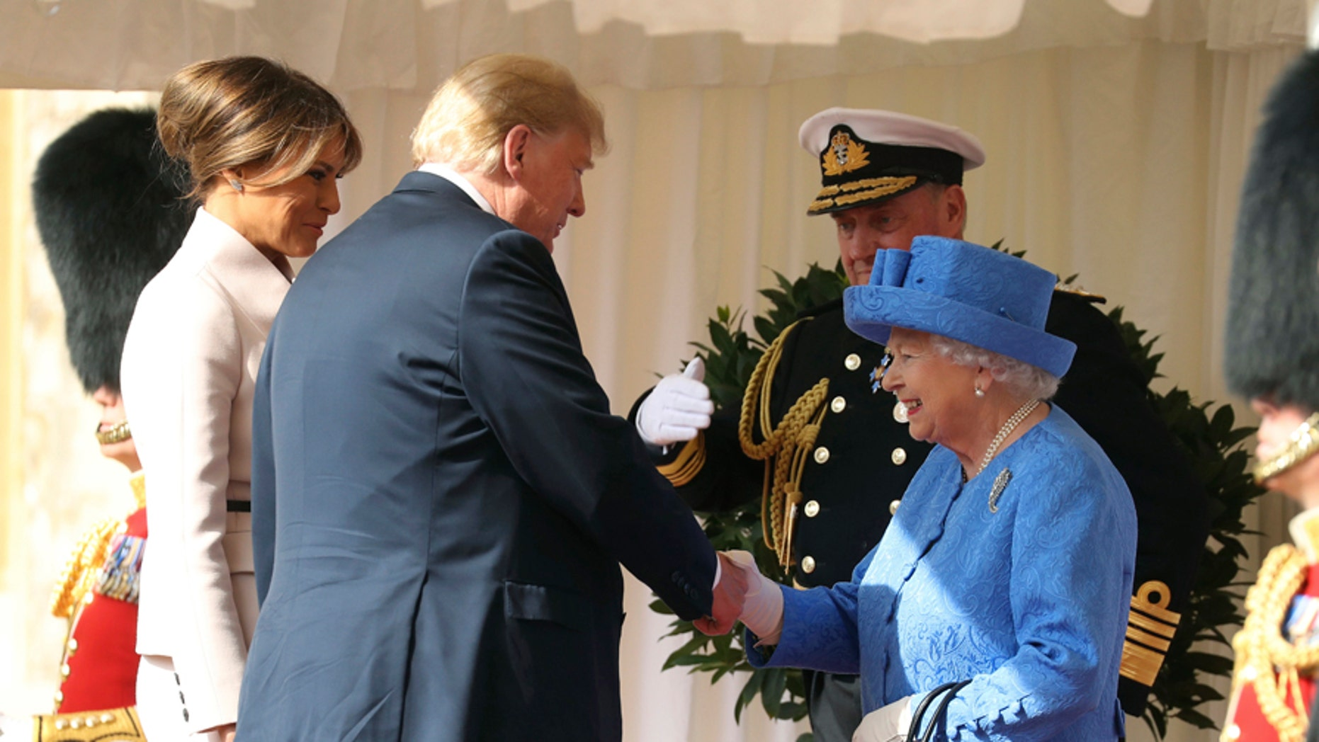 President Trump and First Lady Melania Trump met Queen Elizabeth II Friday at Windsor Castle.