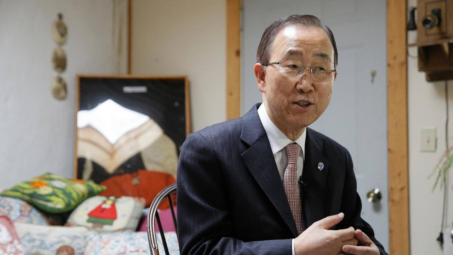 In this photo taken Aug. 11, 2016, U.N. Secretary-General Ban Ki-moon sits during an interview in Novato, Calif. During the interview he said he would personally like to see a woman become the next secretary-general of the United Nations for the first time since it was established more than 70 years ago. (AP Photo/Eric Risberg)