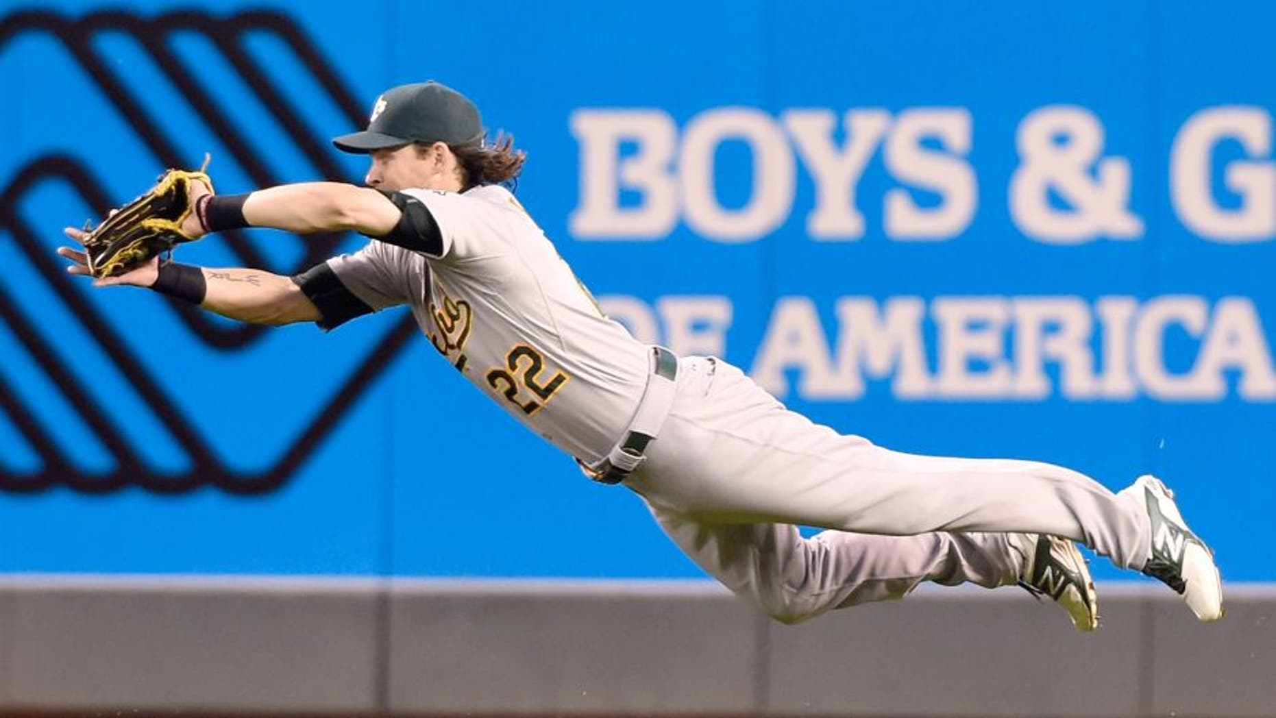MINNEAPOLIS, MN - MAY 6: Josh Reddick #22 of the Oakland Athletics makes a diving catch in right field on a ball off the bat of Brian Dozier #2 of the Minnesota Twins in the fifth inning of the game on May 6, 2015 at Target Field in Minneapolis, Minnesota. The Twins defeated Athletics 13-0.(Photo by Hannah Foslien/Getty Images)