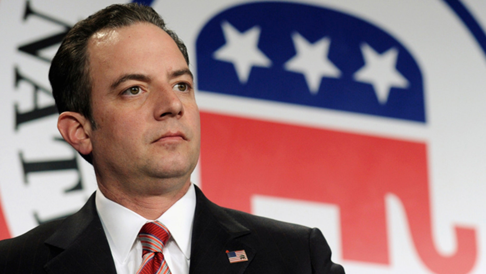 FILE - In this Jan. 24, 2014 file photo, Republican National Committee Chairman Reince  Priebus is seen at the RNC winter meeting in Washington. Priebus says the GOP is ready to lead. He delivered a speech at Georgetown University on Thursday outlining a series of âunifying goalsâ that included an improved immigration system, a strong national defense and conservative family values, among other priorities should Republicans win the Senate majority and make other gains on Election Day.  (AP Photo/Susan Walsh, File)