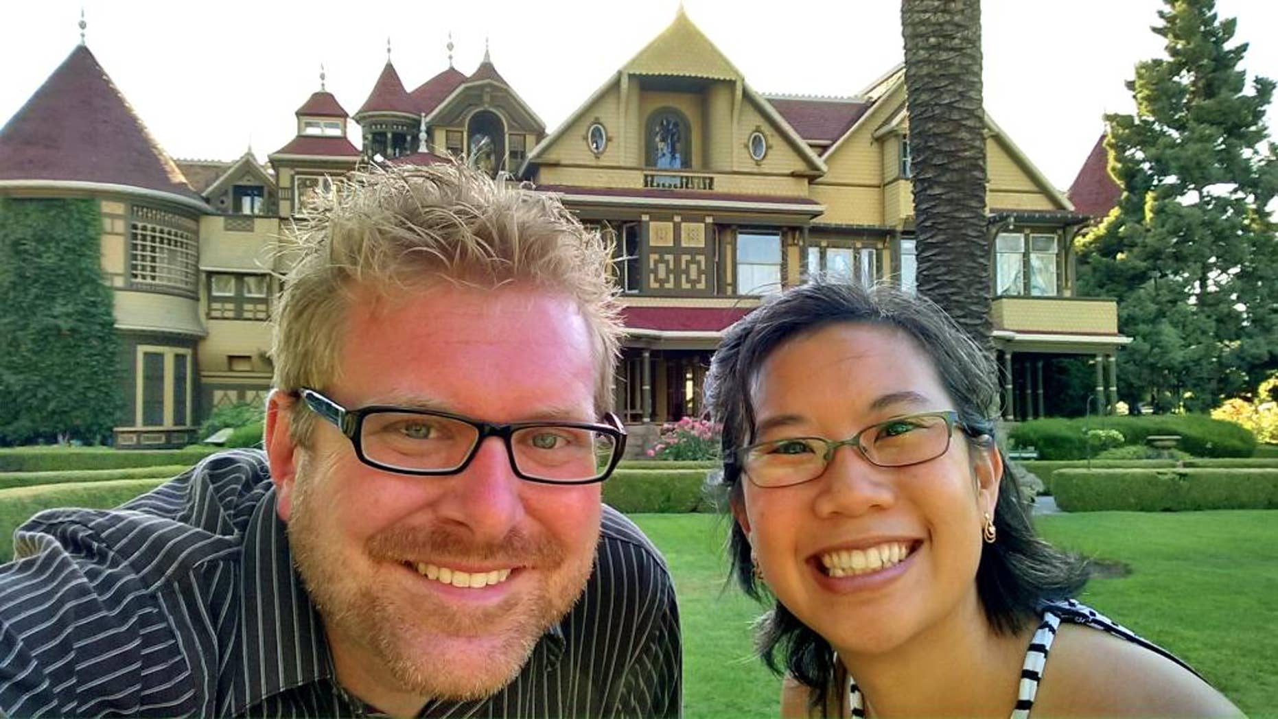 July 3, 2015:  Todd Kuhns shows Kuhns and his wife Bich Kuhns at Winchester Mystery House, a mansion and historic landmark open to tourists in San Jose, Calif. (Todd Kuhns via AP)