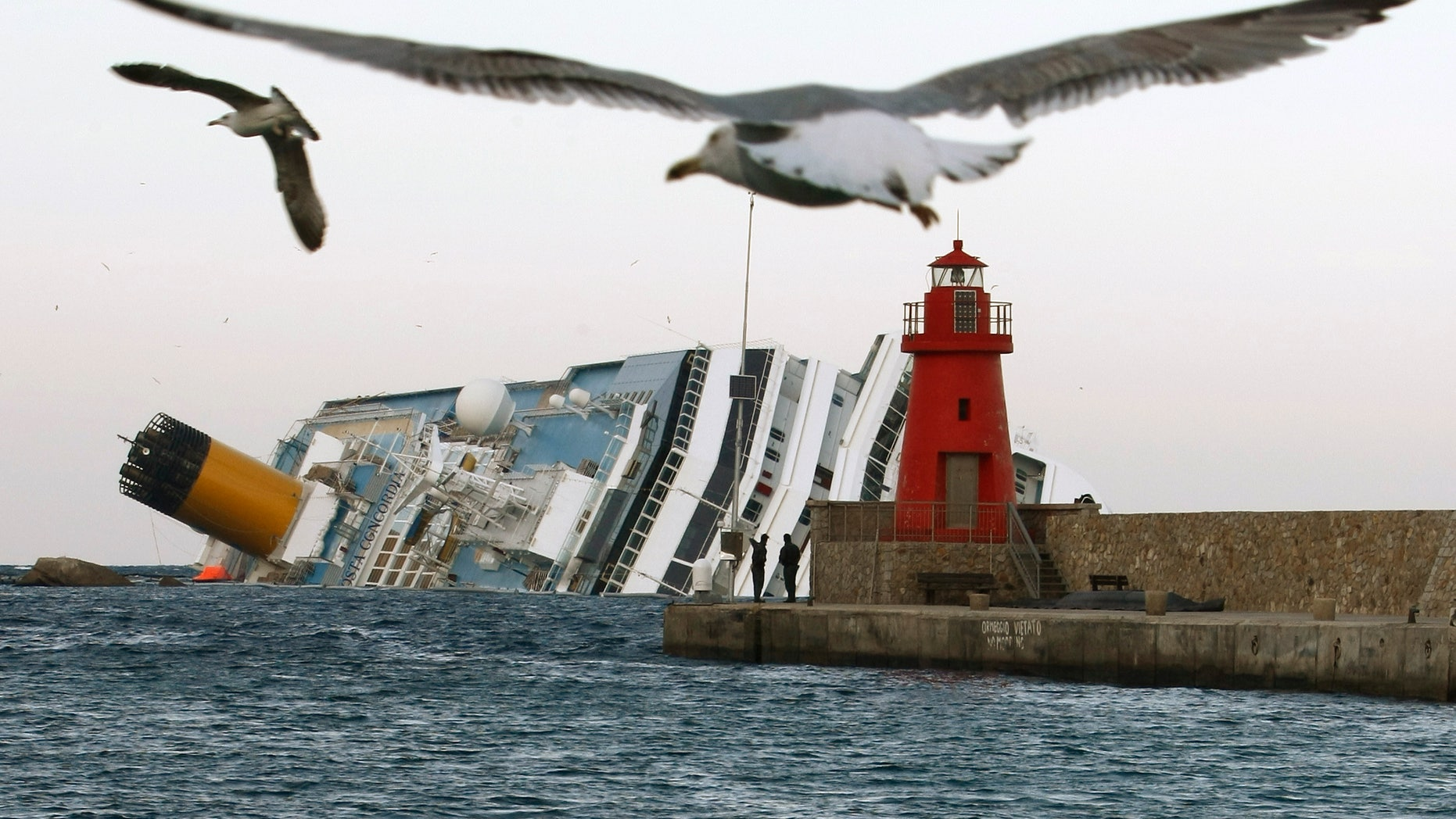 FILE - In this , Monday, Jan. 30, 2012 file photo, seagulls fly in front of the grounded cruise ship Costa Concordia off the Tuscan island of Giglio, Italy. As if the nightmares, flashbacks and anxiety weren't enough, passengers who survived the terrifying grounding and capsizing of the Costa Concordia off Tuscany have come in for a rude shock as they mark the first anniversary of the disaster on Sunday, Jan. 13, 2013. Ship owner Costa Crociere SpA, the Italian unit of Miami-based Carnival Corp., sent several passengers a letter telling them they weren't welcome at the official anniversary ceremonies on the island of Giglio where the hulking ship still rests. Costa says the day is focused on the families of the 32 people who died Jan. 13, 2012, not the 4,200 passengers and crew who survived. (AP Photo/Pier Paolo Cito, File)
