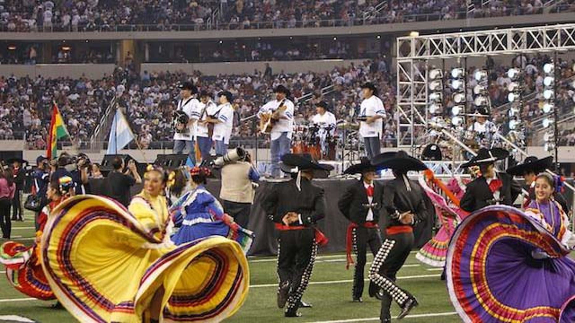 Sept. 27, 2011: 'Intocable' performs at the Dallas Cowboys stadium on Tuesday in Dallas, Texas.