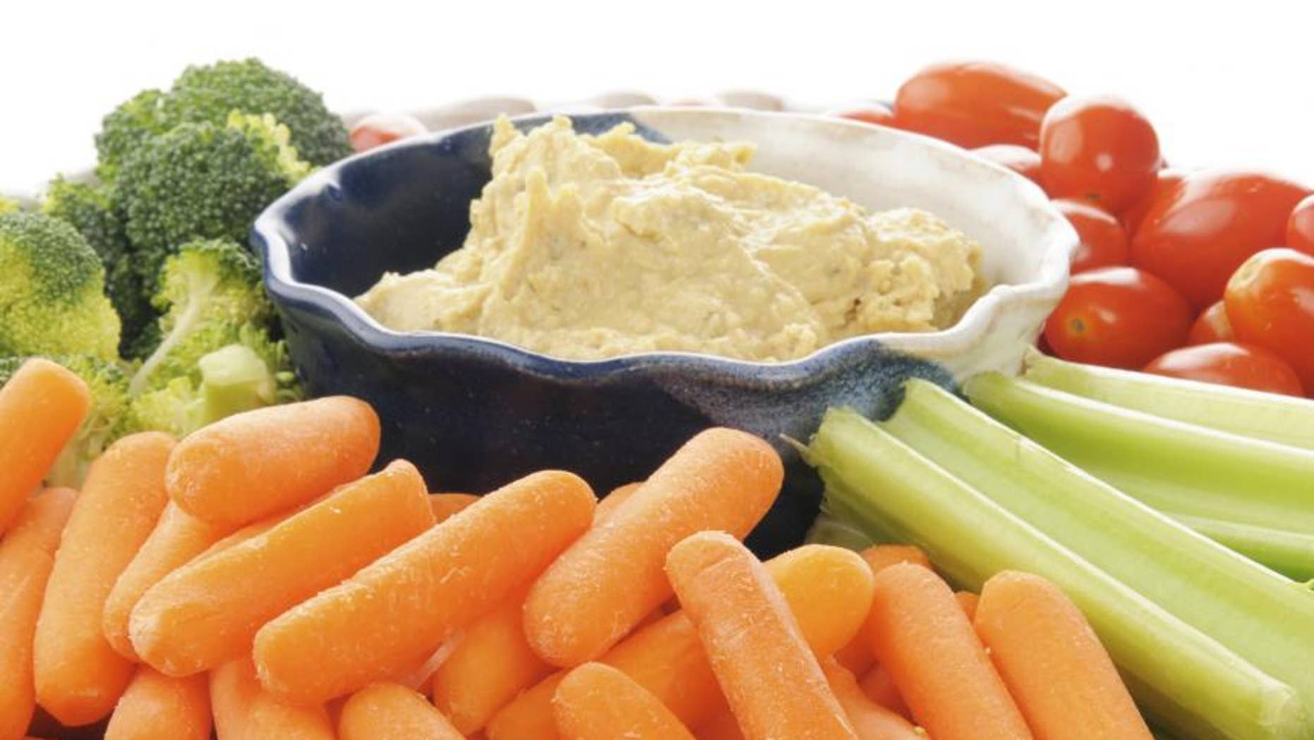 Hummus and veggies are a great combination.  Like nuts, hummus offers protein, fiber and fat all in one. Combine it with the veggies, which are of course loaded with nutrients, and this one is a no brainer.