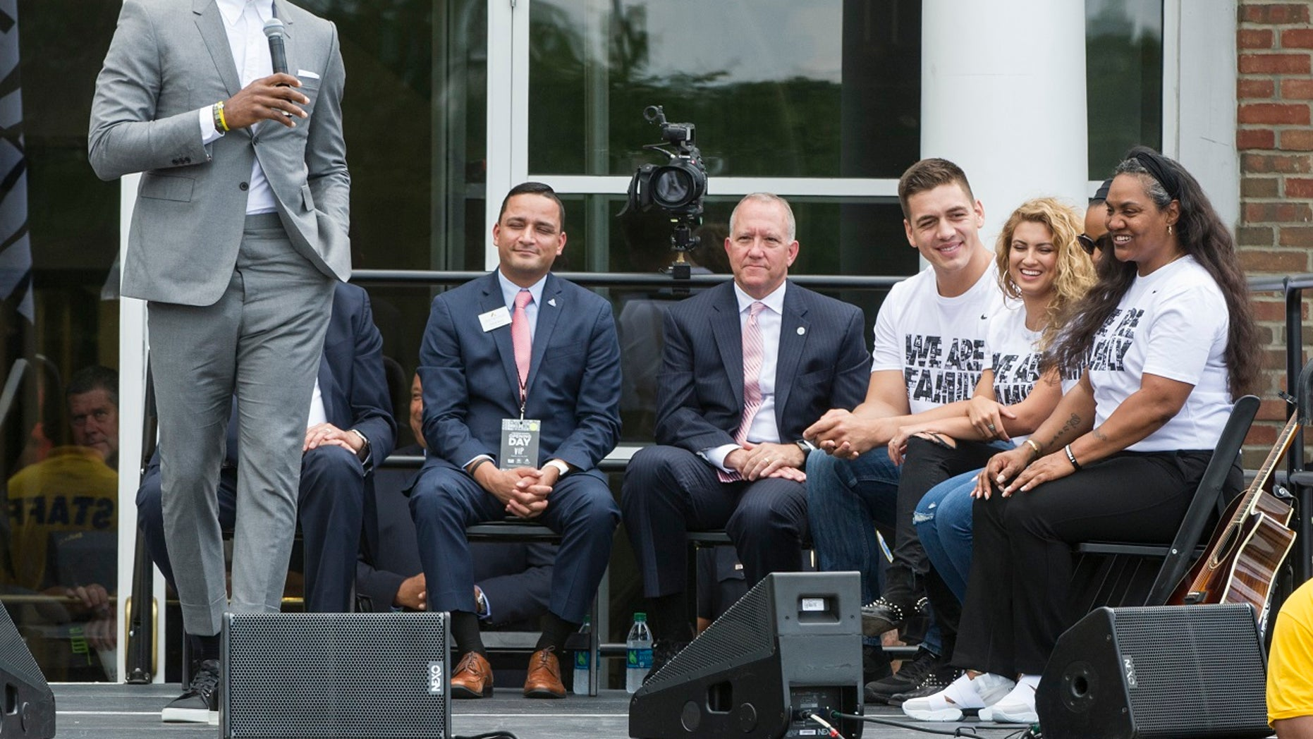 LeBron James unveils his I Promise School in Akron, Ohio.