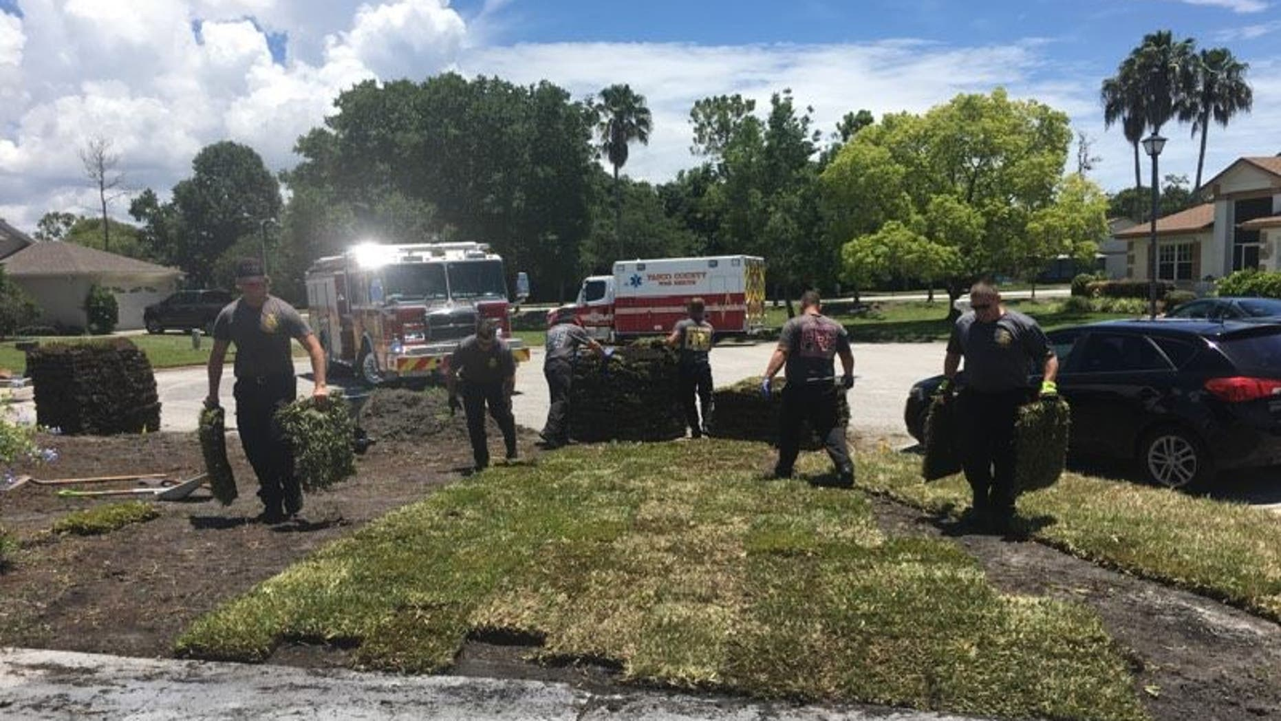 When Gene Work had a heart attack and couldn't finish his yard work, firefighters from the Pasco County Fire Rescue in Florida stepped in to help.