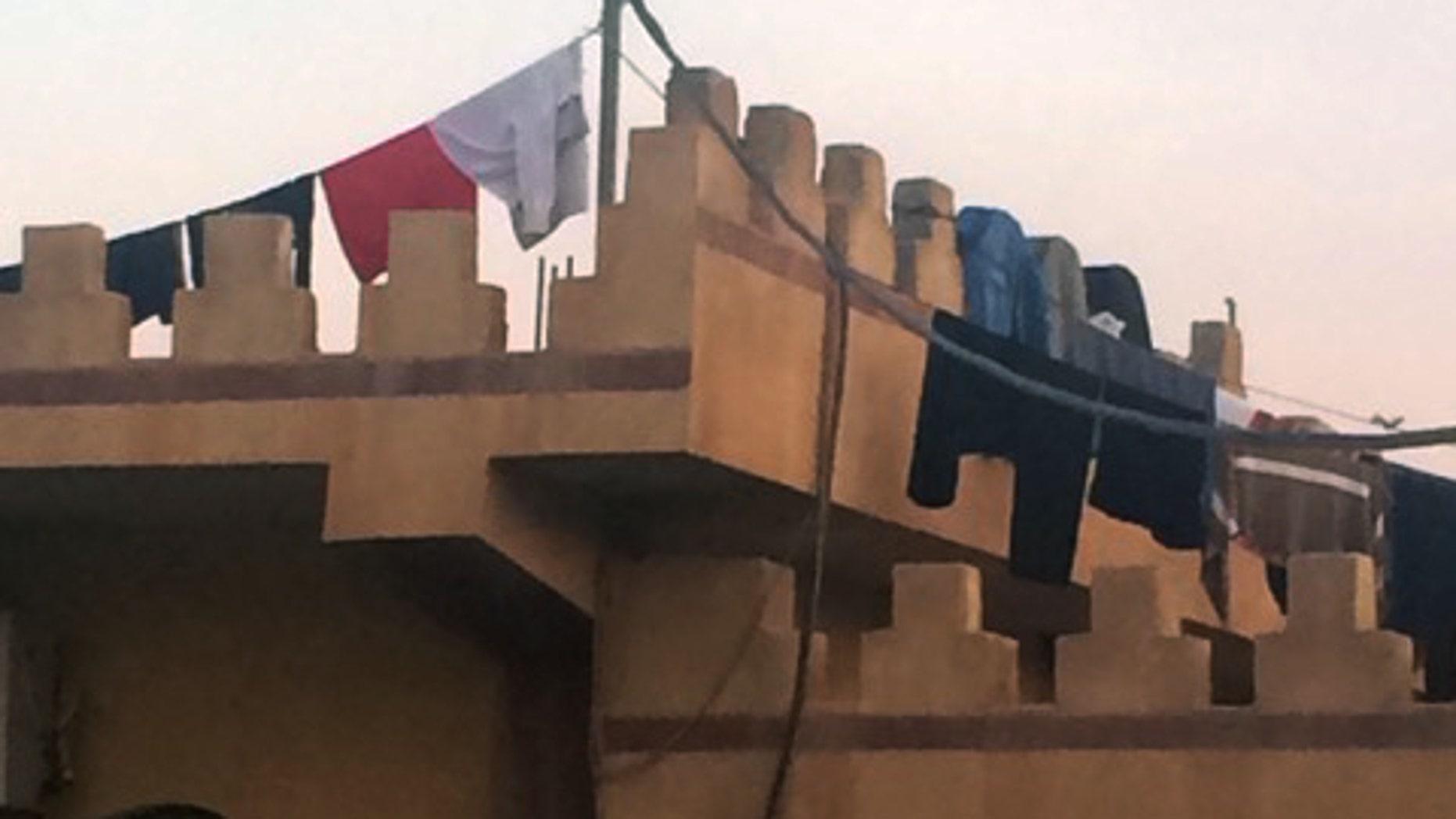 Erbil, Kurdistan: Refugees' laundry decorates Mar Yousef Church.