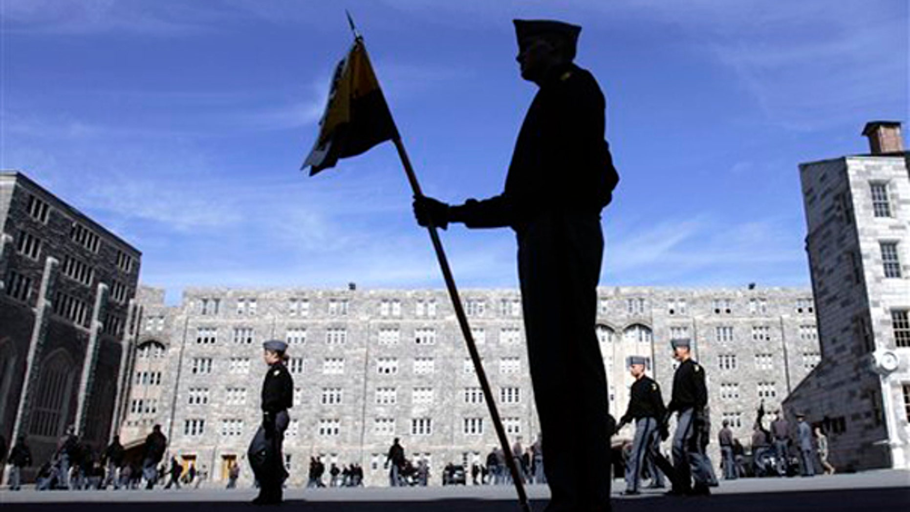 In this March 6, 2008 file photo, cadets prepare to line up for lunch time formation at the United States Military Academy at West Point, N.Y. West Point is being considered as an alternative to lower Manhattan for the Sept. 11 terrorist trial. (AP)