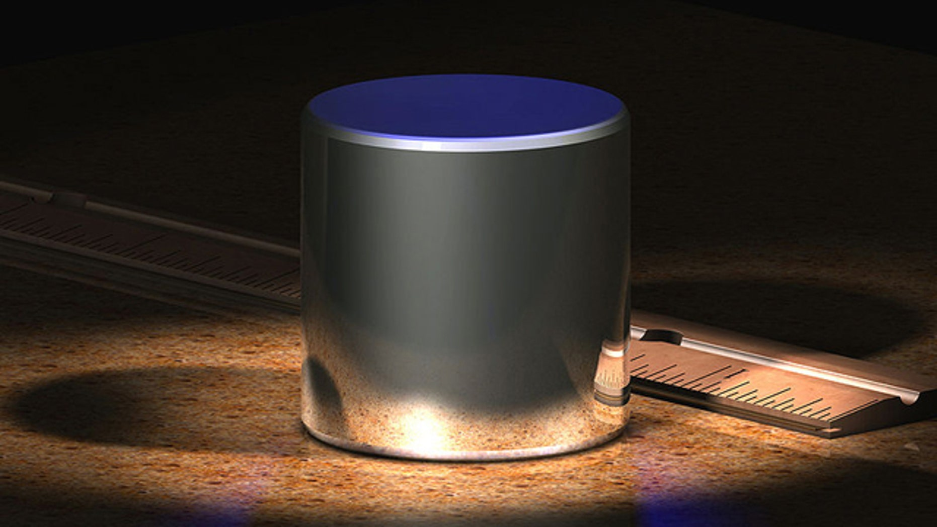 A computer-generated image of the International Prototype kilogram (IPK), which is made from an alloy of 90% platinum and 10% iridium and machined into a cylinder.