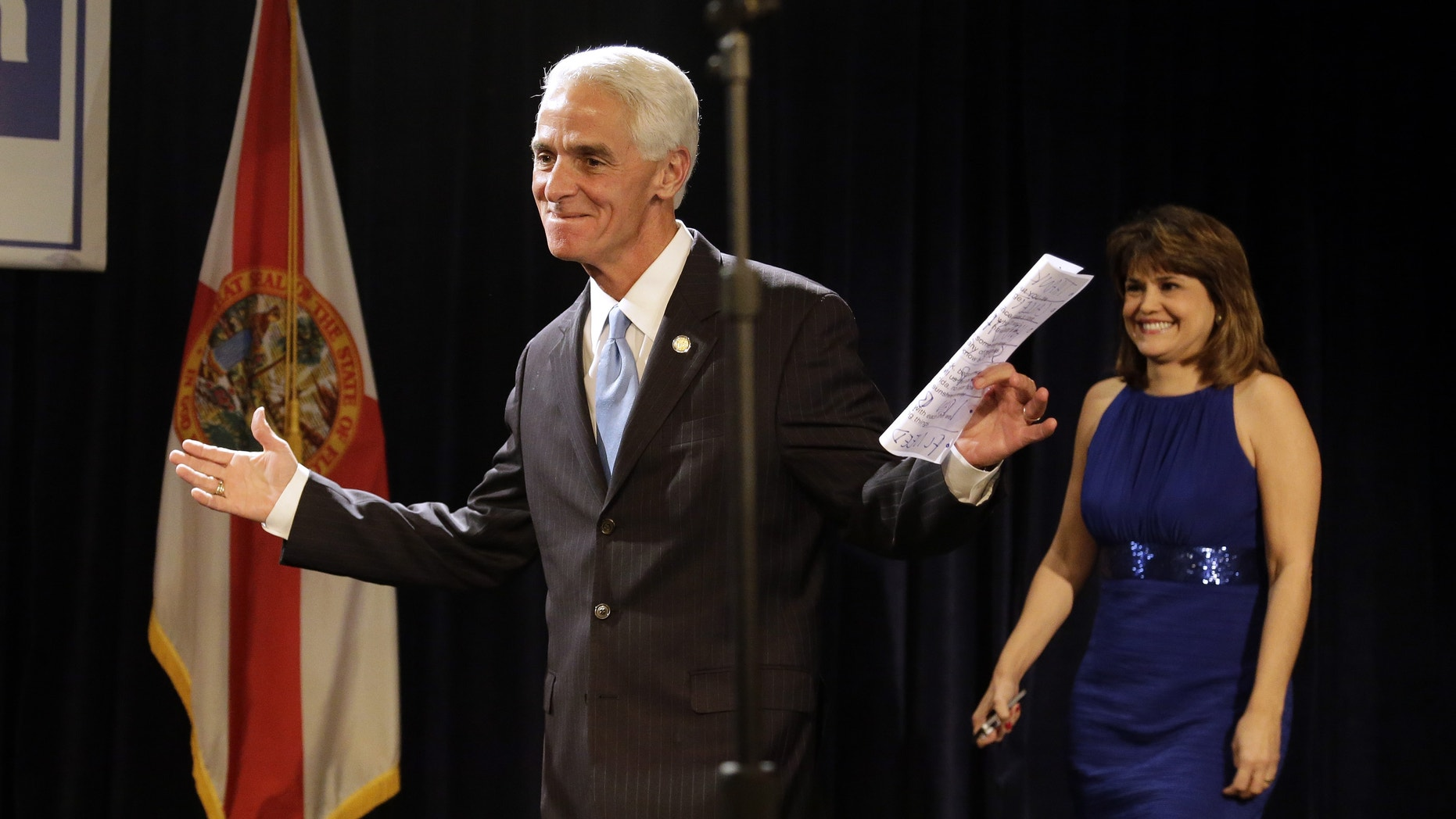 Charlie Crist delivering his concession speech Tuesday, Nov. 4, 2014 in Tampa, Fla.