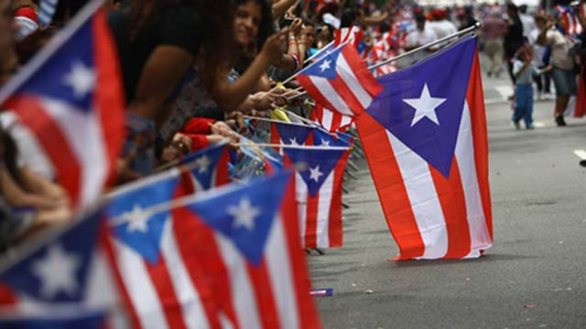 June 14, 2009: Revelers celebrate during the 2009 Puerto Rican Day Parade on the streets of Manhattan in New York City.