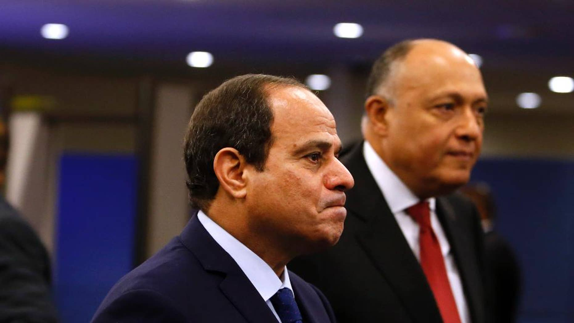FILE - In this Monday, Sept. 28, 2015 file photo, Egypt's President Abdel Fattah el-Sissi arrives for the 70th session of the United Nations General Assembly at U.N. headquarters. In just the last three weeks, according to rights lawyers, nearly 1,300 were detained by police as the highly militarized force went after organizers and demonstrators protesting the surrender of control over two Red Sea islands to Saudi Arabia in a deal that raised suspicions about a sell-off. (AP Photo/Jason DeCrow, File)